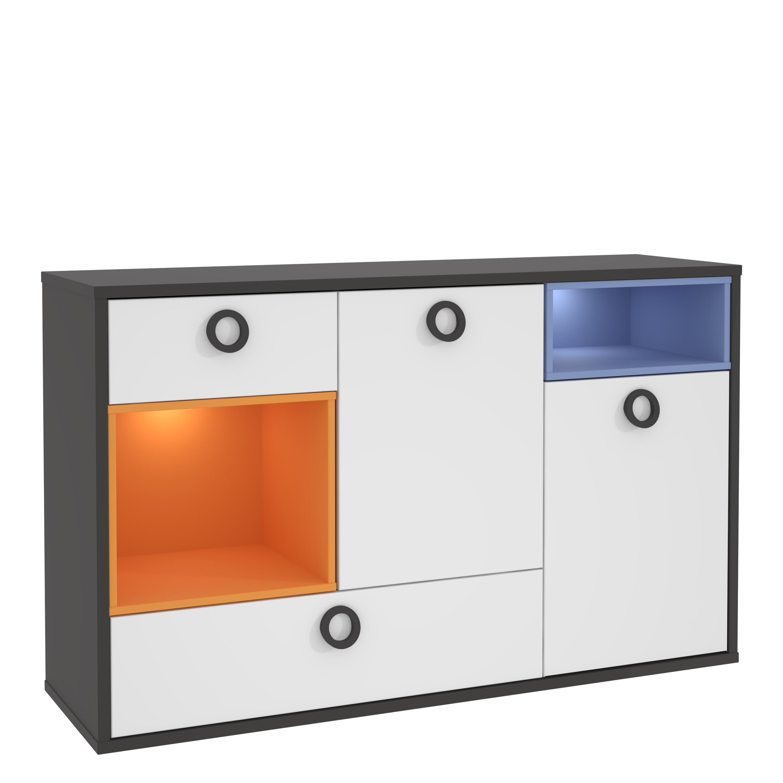 Kommode 2-trg 2 Schubkästen Colors von Forte Wolfram Grau mit Orange Blau / Weiss