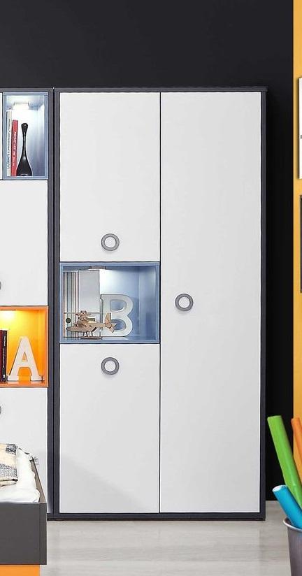 Kleiderschrank 3-trg Colors von Forte Wolfram Grau mit Orange Blau / Weiss