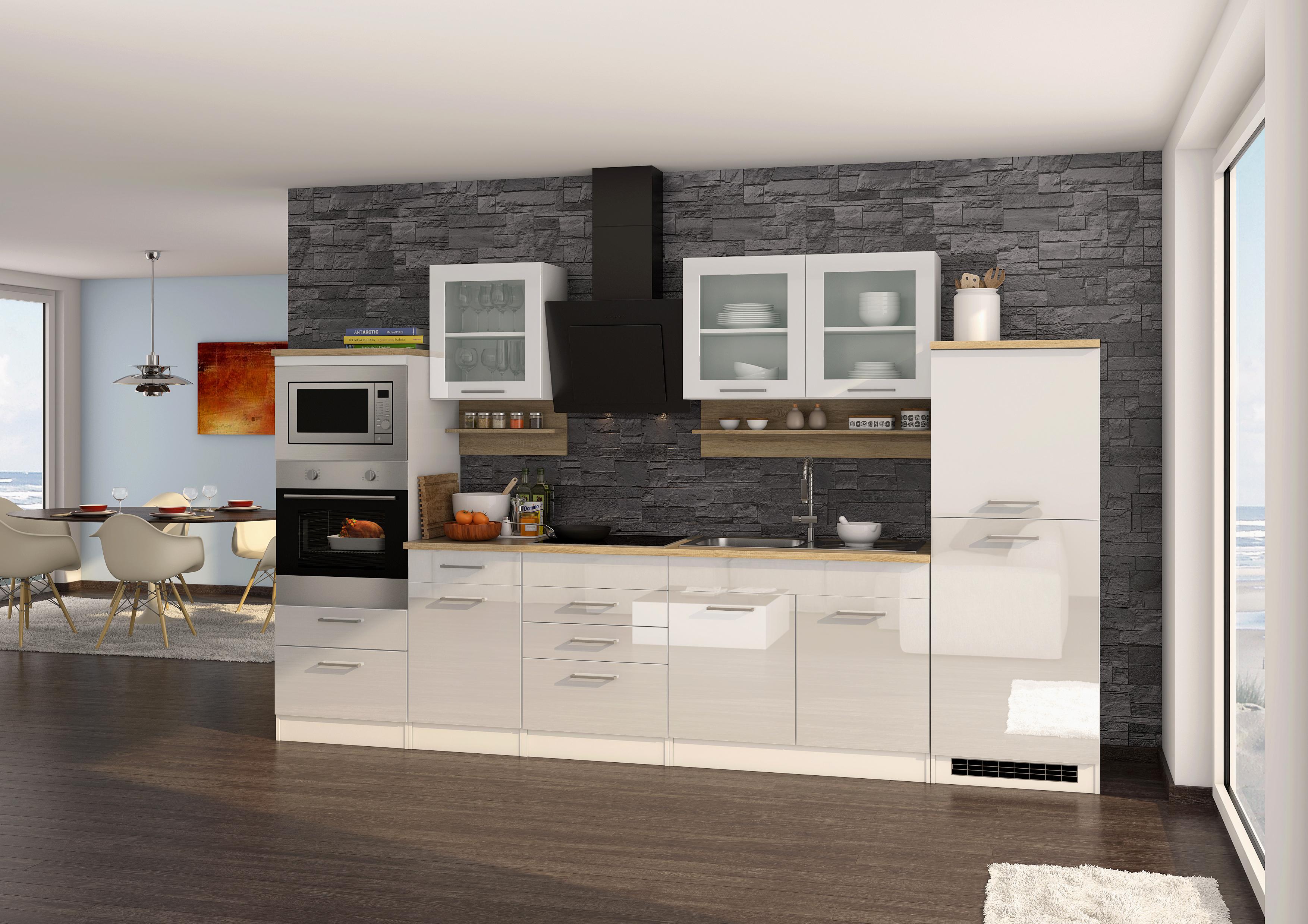 Küchenblock inkl E-Geräte 330 cm breit MAILAND ...