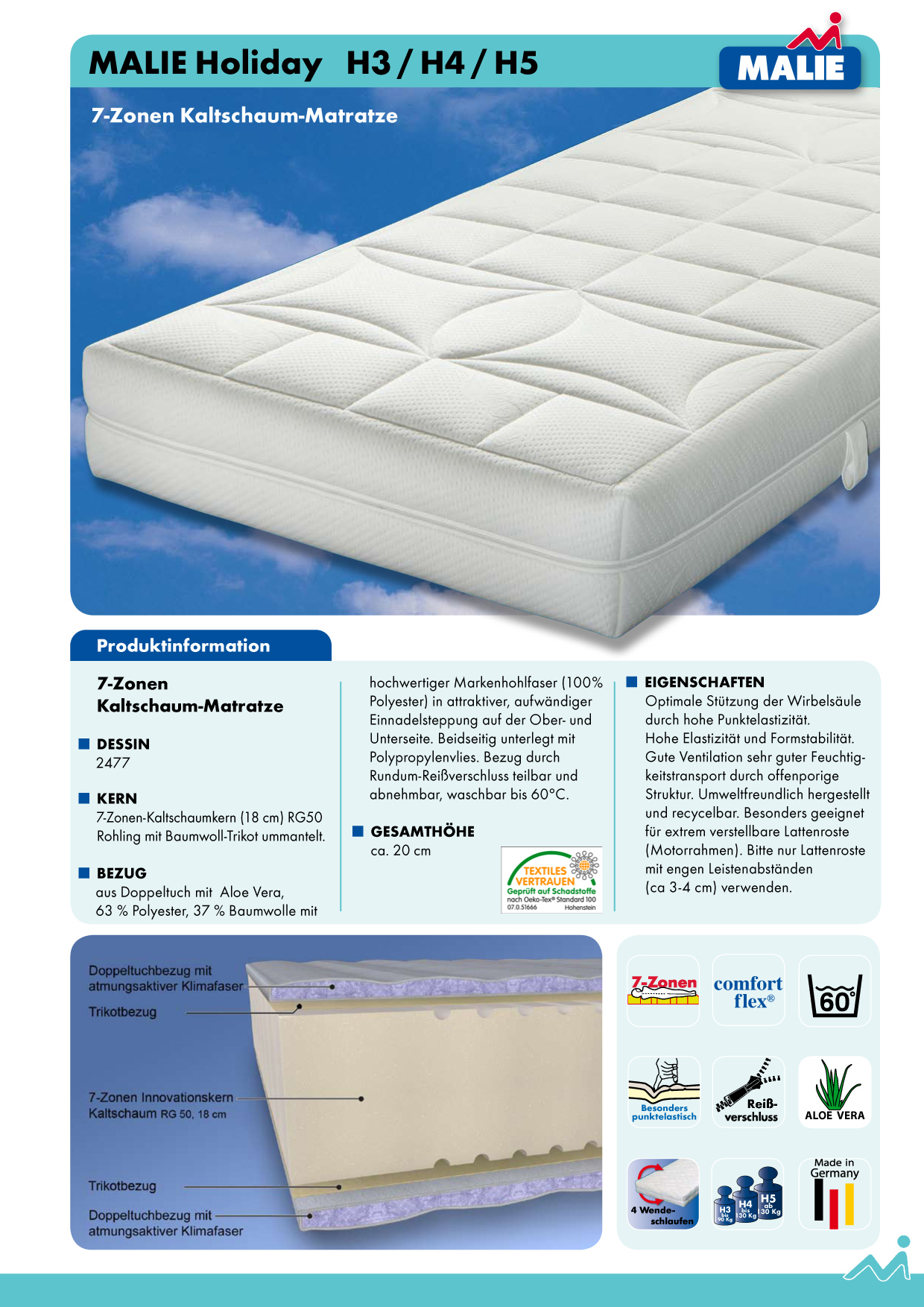 malie matratzen 140x200 holiday h3 7 zonen kaltschaummatratze. Black Bedroom Furniture Sets. Home Design Ideas