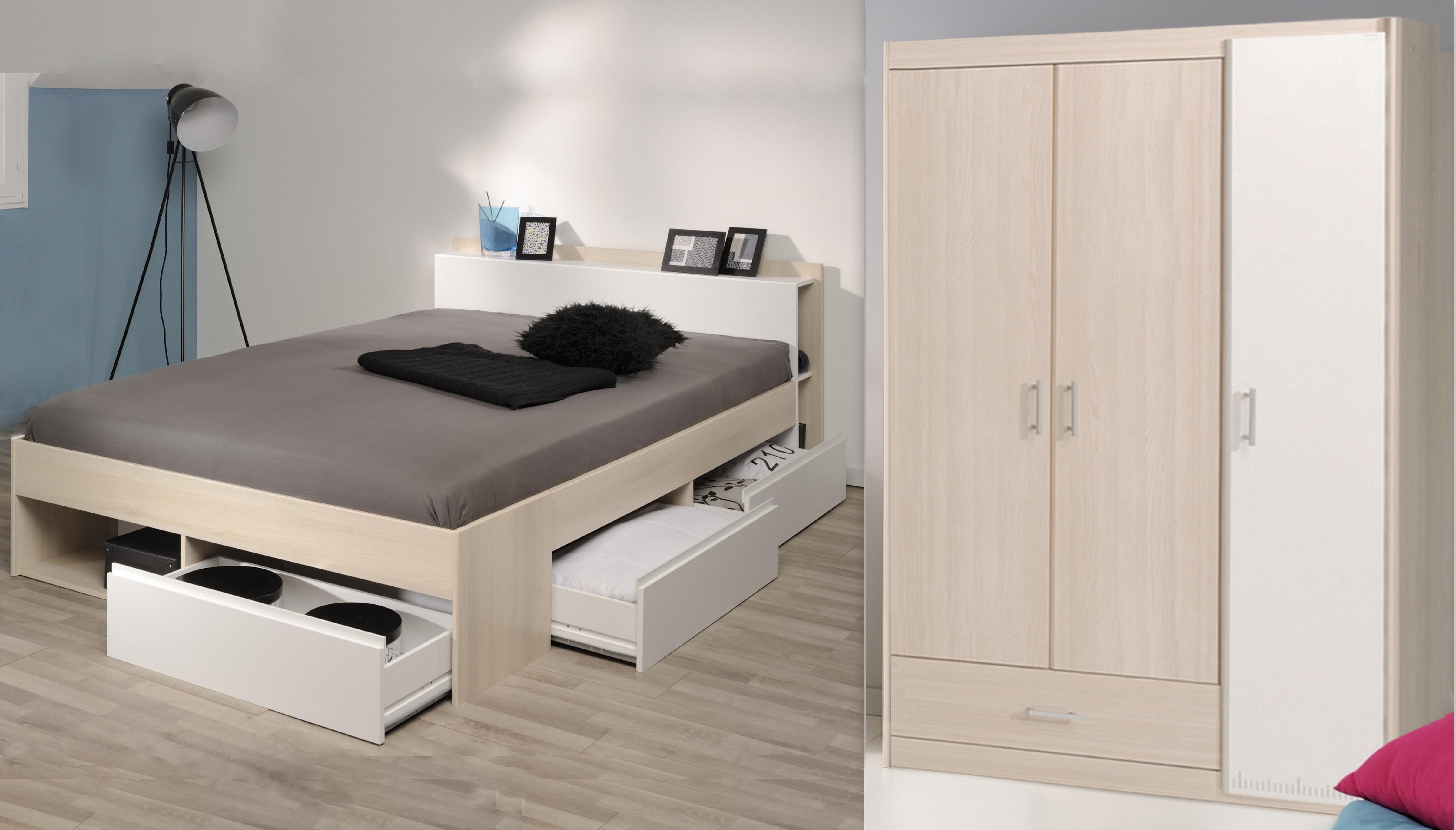 Schlafzimmer-Set 2-tlg inkl 160x200 Bett Bettkasten u Kleiderschrank 3-trg Most 72 von Parisot Akazie / Weiss