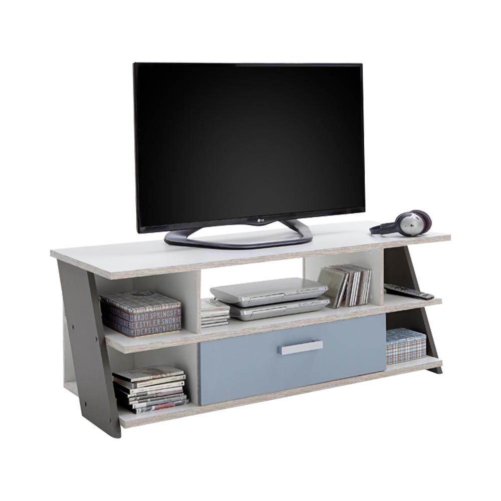 NONA 5 TV / HiFi Lowboard von FMD Sandeiche / Weiß / Lava / Denim