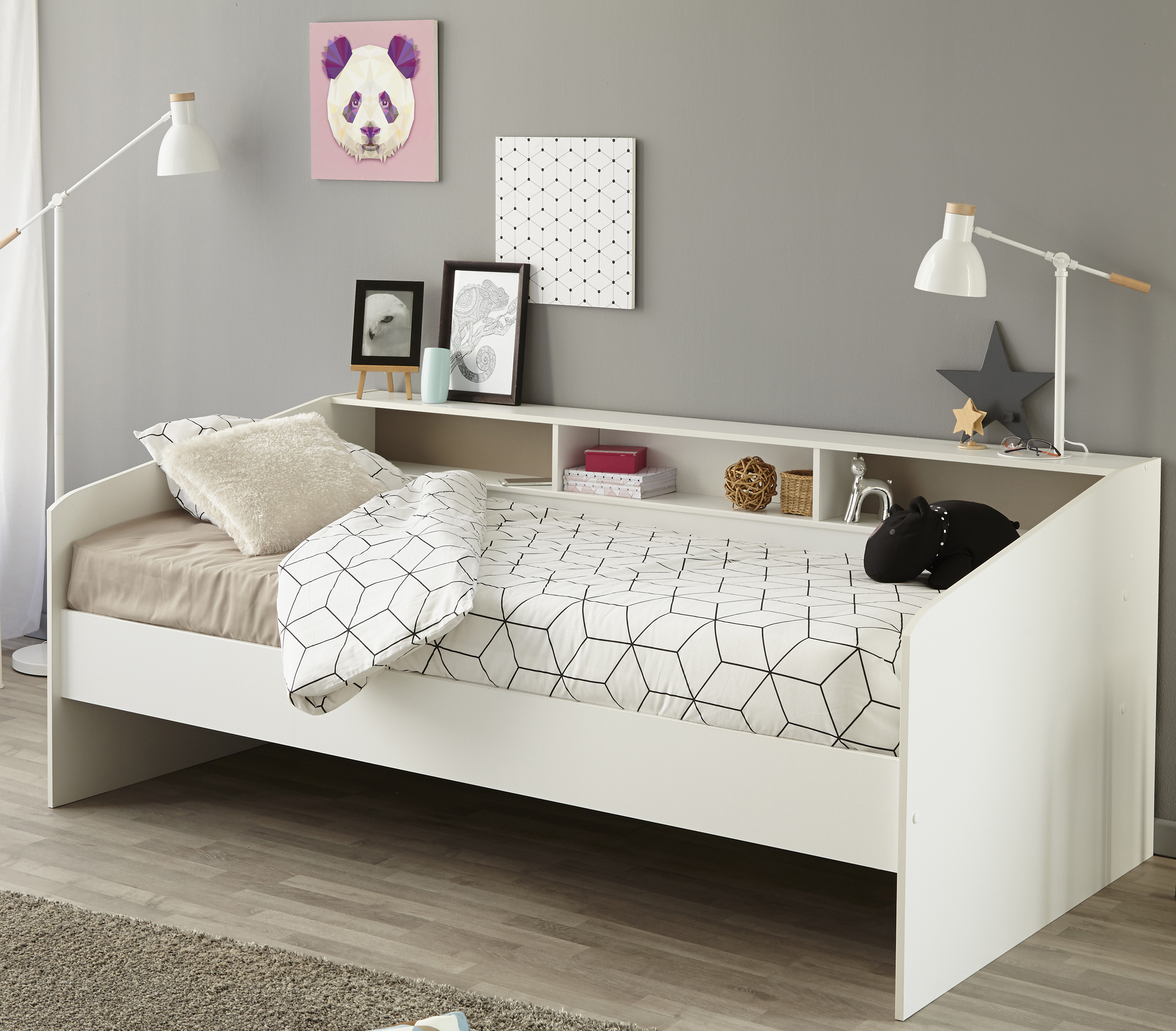 nona 1 90x200 bett inkl 2 schubladen von fmd sandeiche wei lava by ebay. Black Bedroom Furniture Sets. Home Design Ideas