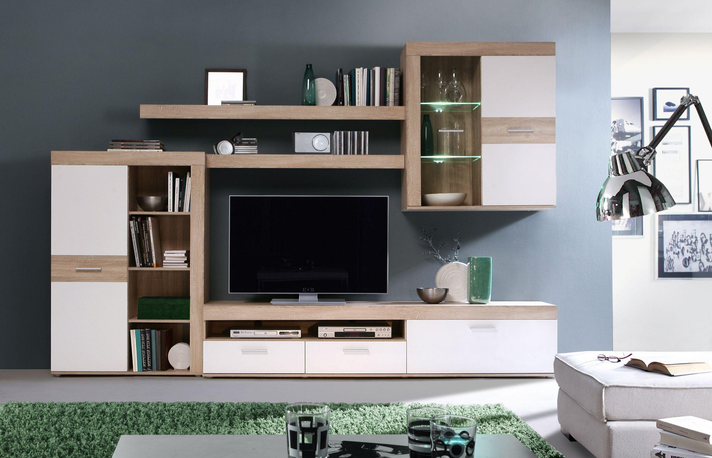 wohnwand inkl beleuchtung zumba von forte sandeiche weiss moebel suchmaschine. Black Bedroom Furniture Sets. Home Design Ideas