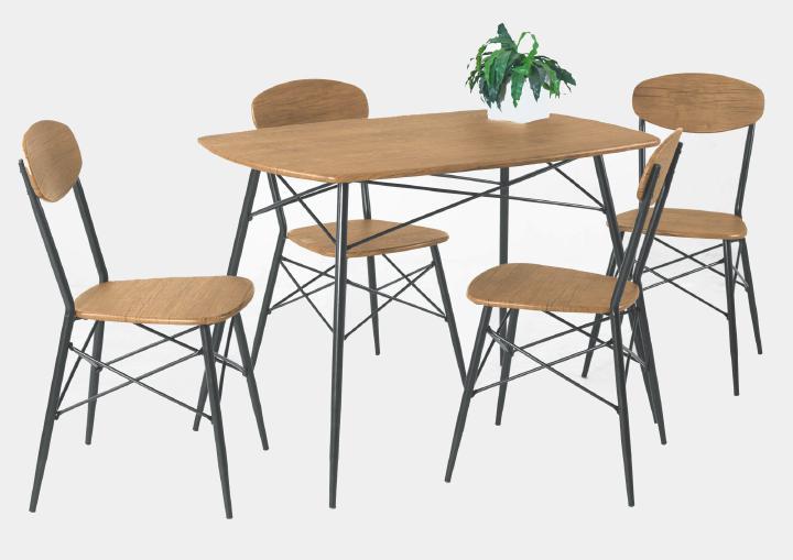 Tischgruppe 5-tlg LARA von Reality Import Balkeneiche / Schwarz a