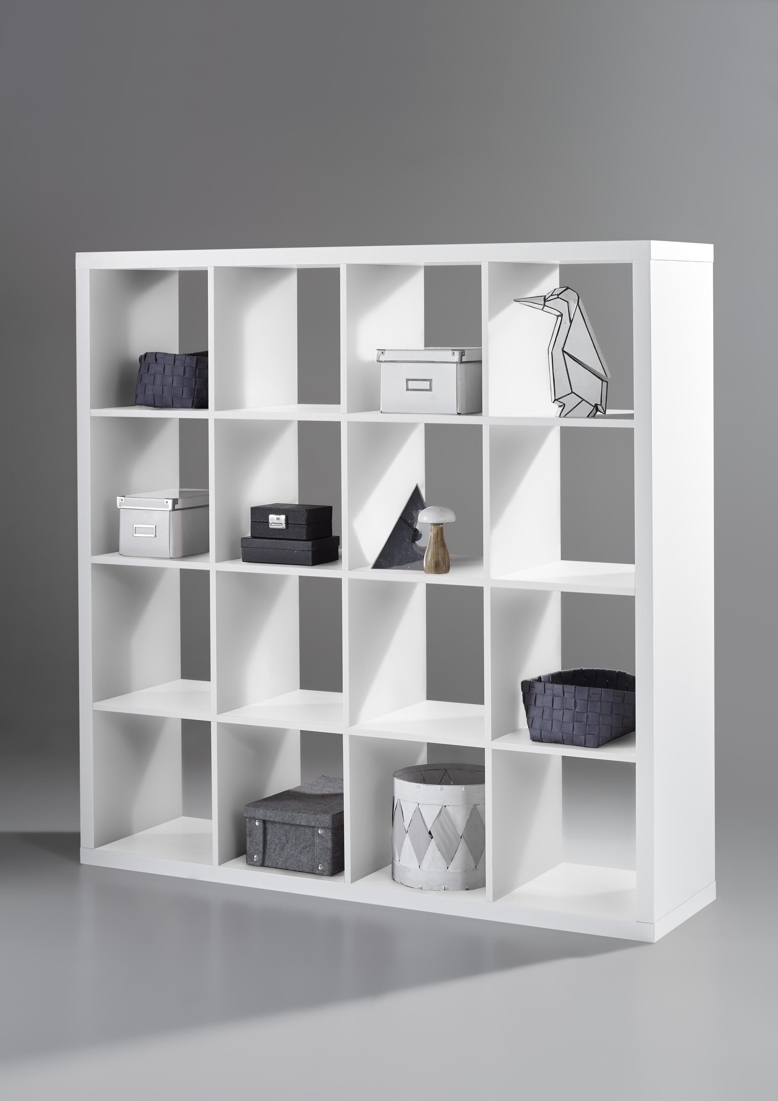Regal als Raumteiler in Weiß mit 16 Fächern
