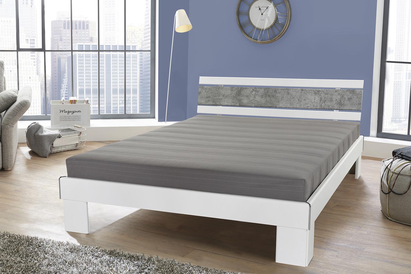 140x200 futonbett rhone inkl rollrost u matratze weiss beton. Black Bedroom Furniture Sets. Home Design Ideas