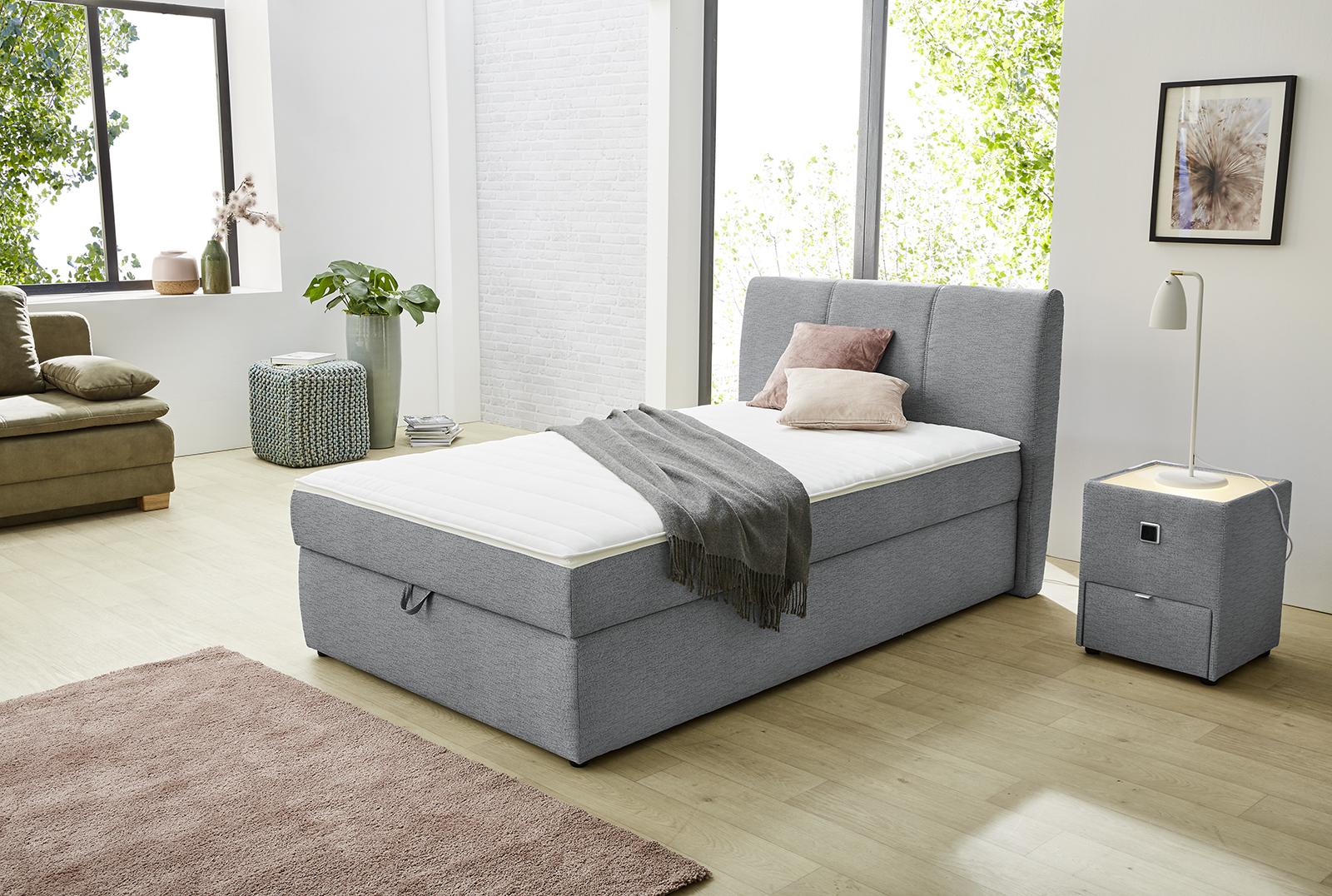 120x200 boxspringbett inkl topper sandra von jockenh fer hellgrau. Black Bedroom Furniture Sets. Home Design Ideas