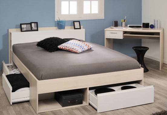 schlafzimmer 2 tlg inkl 140x200 bett most 61 von parisot akazie wei. Black Bedroom Furniture Sets. Home Design Ideas