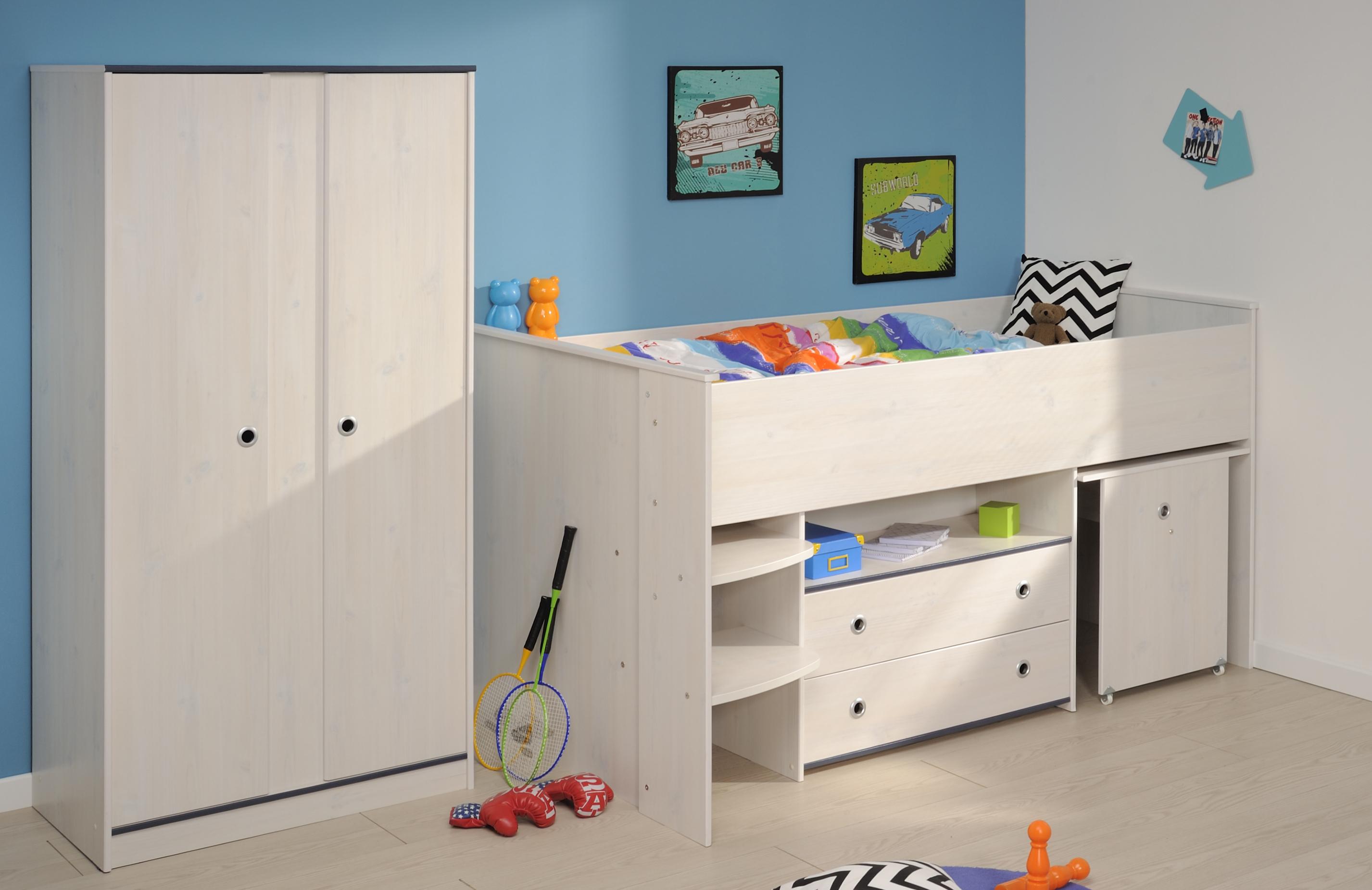Schlafzimmer 2-tlg. inkl 90x200 Hochbett Smoozy 25a von Parisot Kiefer Weiss / Blau