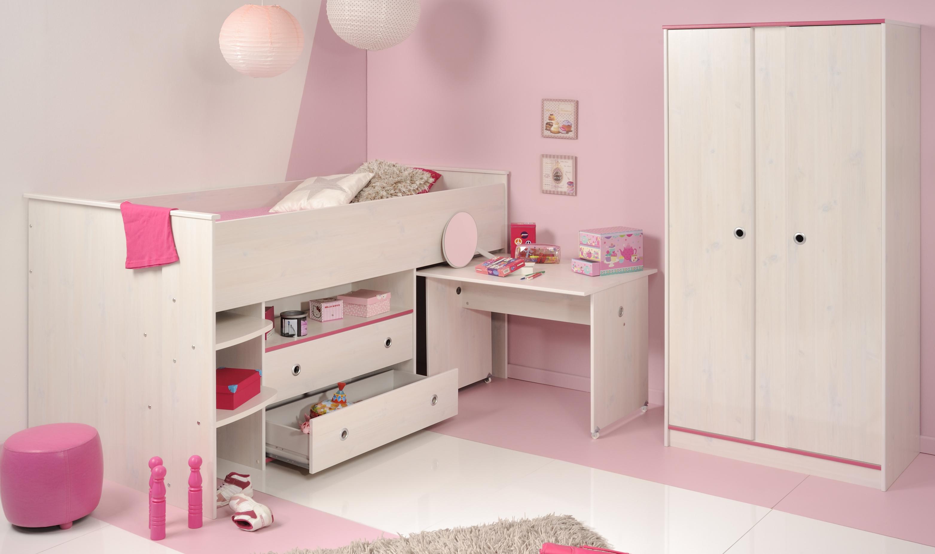 Schlafzimmer 2-tlg. inkl 90x200 Hochbett Smoozy 25b von Parisot Kiefer Weiss / Pink