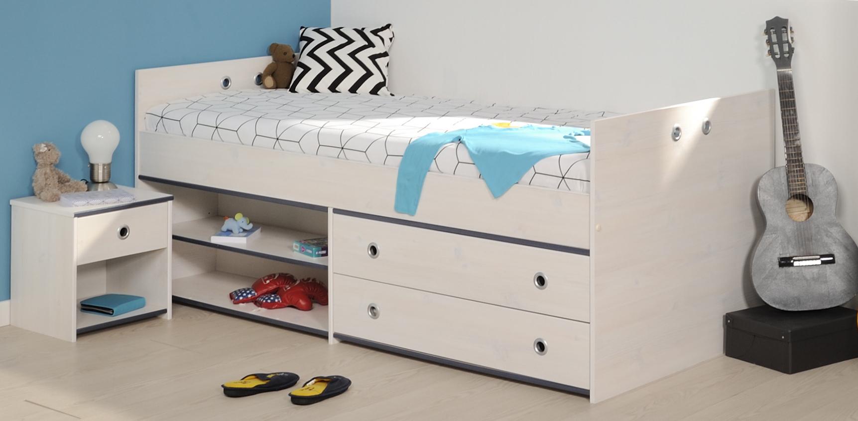 schlafzimmer 2 tlg inkl 90x200 stauraumbett smoozy 24a von parisot kiefer weiss blau. Black Bedroom Furniture Sets. Home Design Ideas