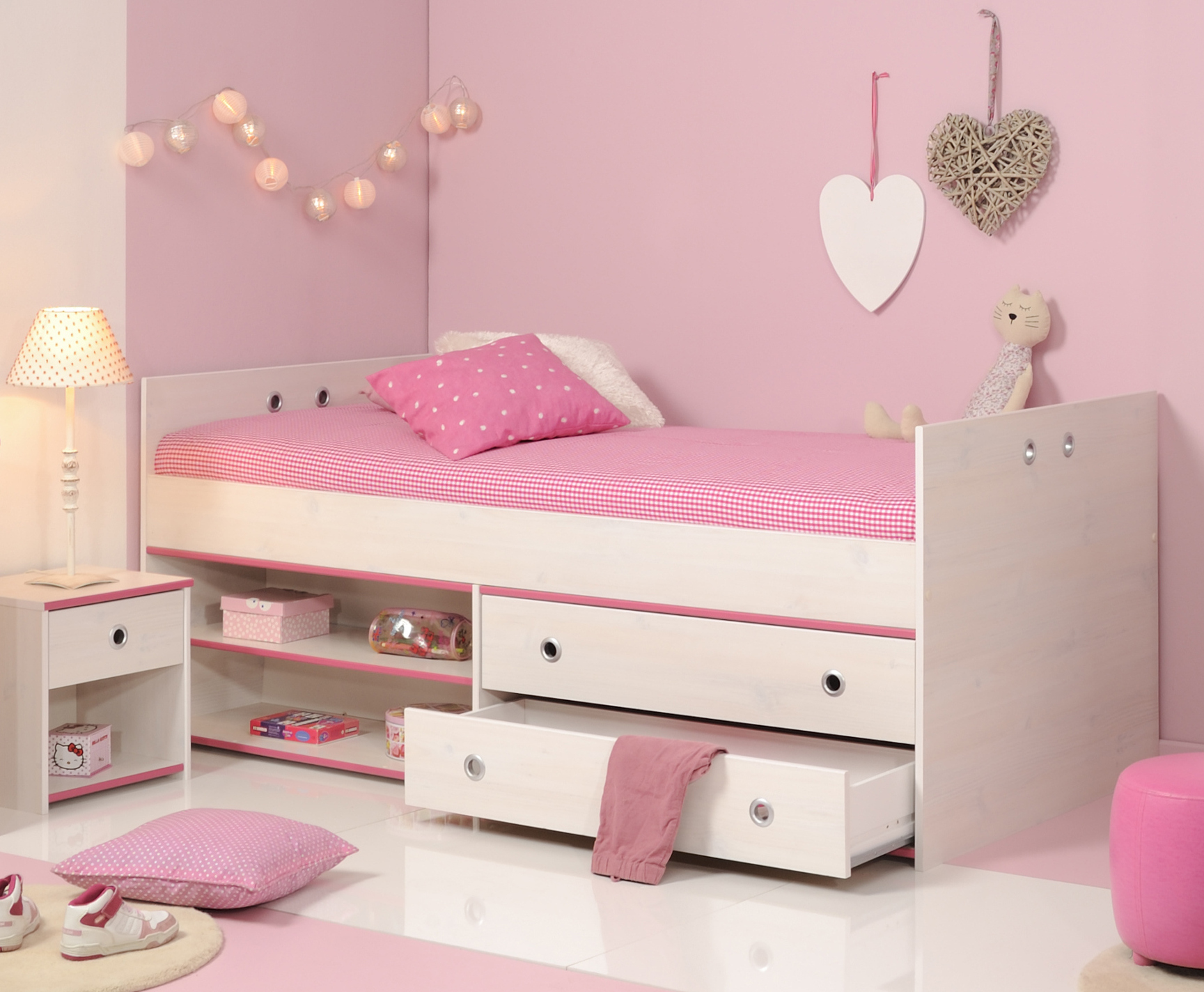 schlafzimmer 2 tlg inkl 90x200 stauraumbett smoozy 24b von parisot kiefer weiss pink. Black Bedroom Furniture Sets. Home Design Ideas
