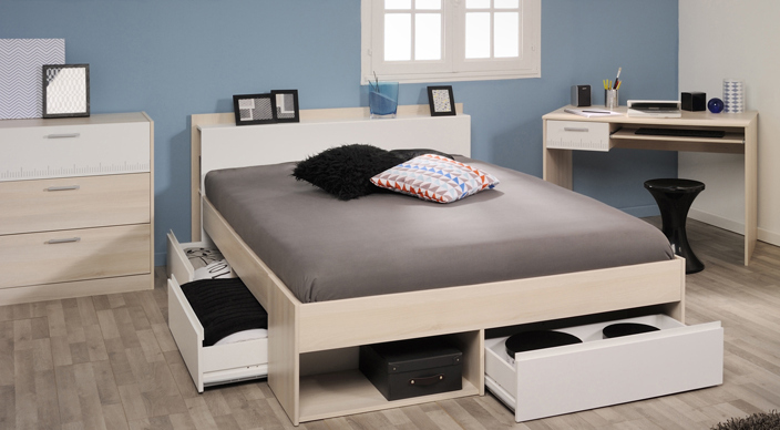 schlafzimmer 3 tlg inkl 140x200 bett most 59 von parisot akazie wei. Black Bedroom Furniture Sets. Home Design Ideas