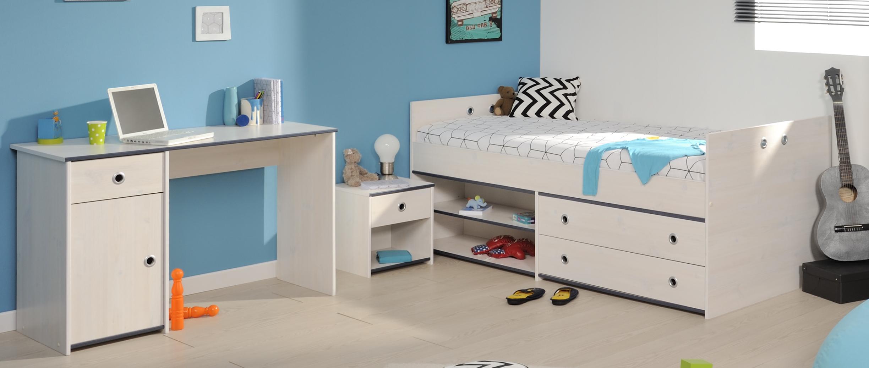 Schlafzimmer 3-tlg. inkl 90x200 Stauraumbett u Schreibtisch Smoozy ...