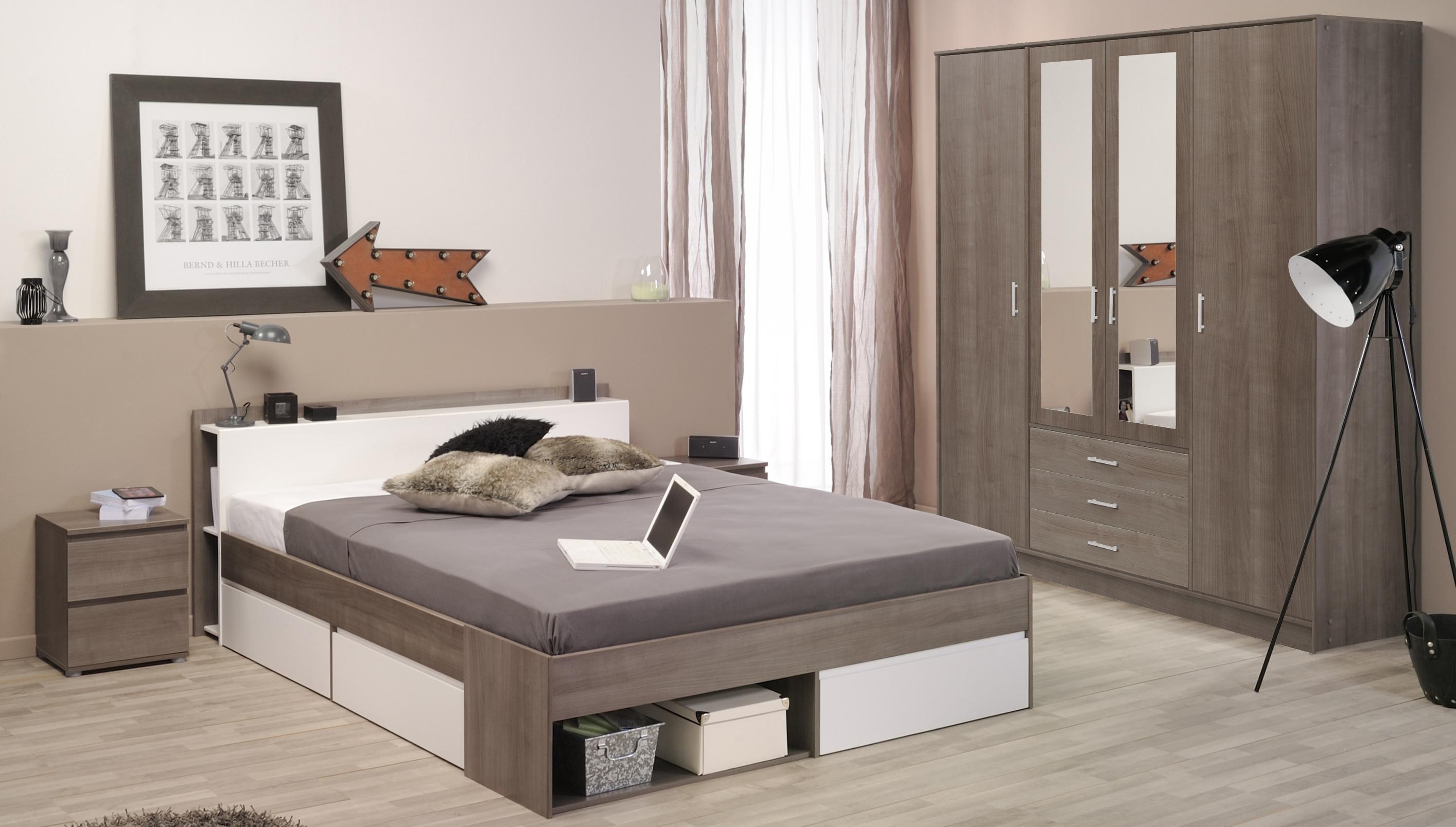 Schlafzimmer 4-tlg. inkl 140x200 Bett u 4-trg Kleiderderschrank Most 43 von Parisot Eiche Silber / Weiß