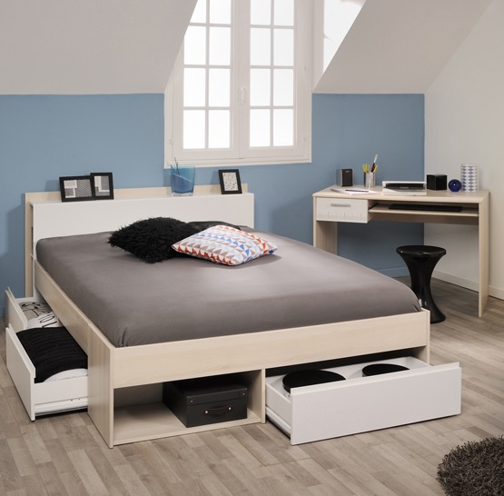 schlafzimmer 2 tlg inkl 160x200 bett most 62 von parisot akazie wei. Black Bedroom Furniture Sets. Home Design Ideas