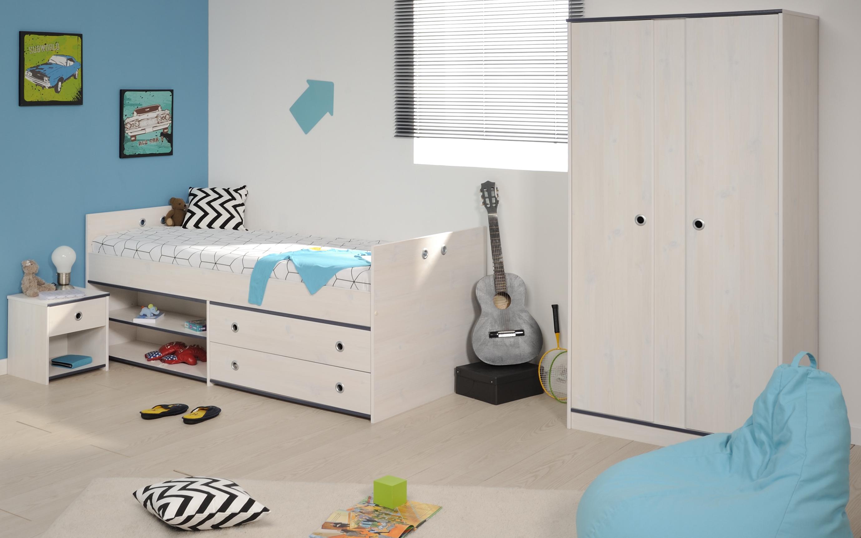 Schlafzimmer 3 tlg. inkl 90x200 stauraumbett u 2 trg kleiderschrank
