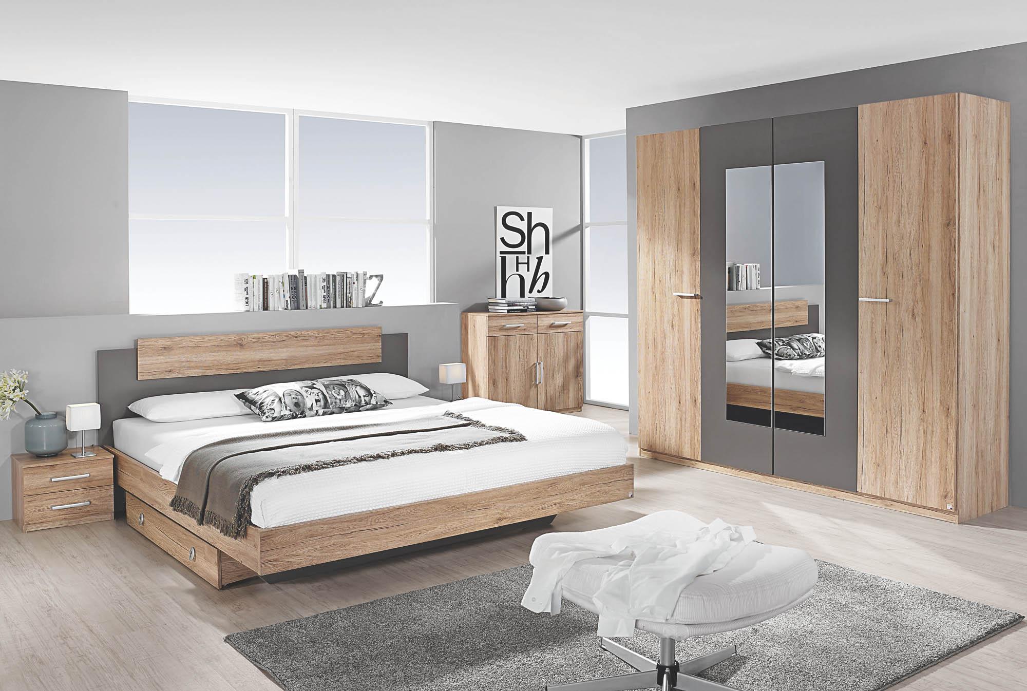 Schlafzimmer 4-tlg Borba von Rauch Packs mit 160x200 Bett Eiche Sonoma /  alpinweiß
