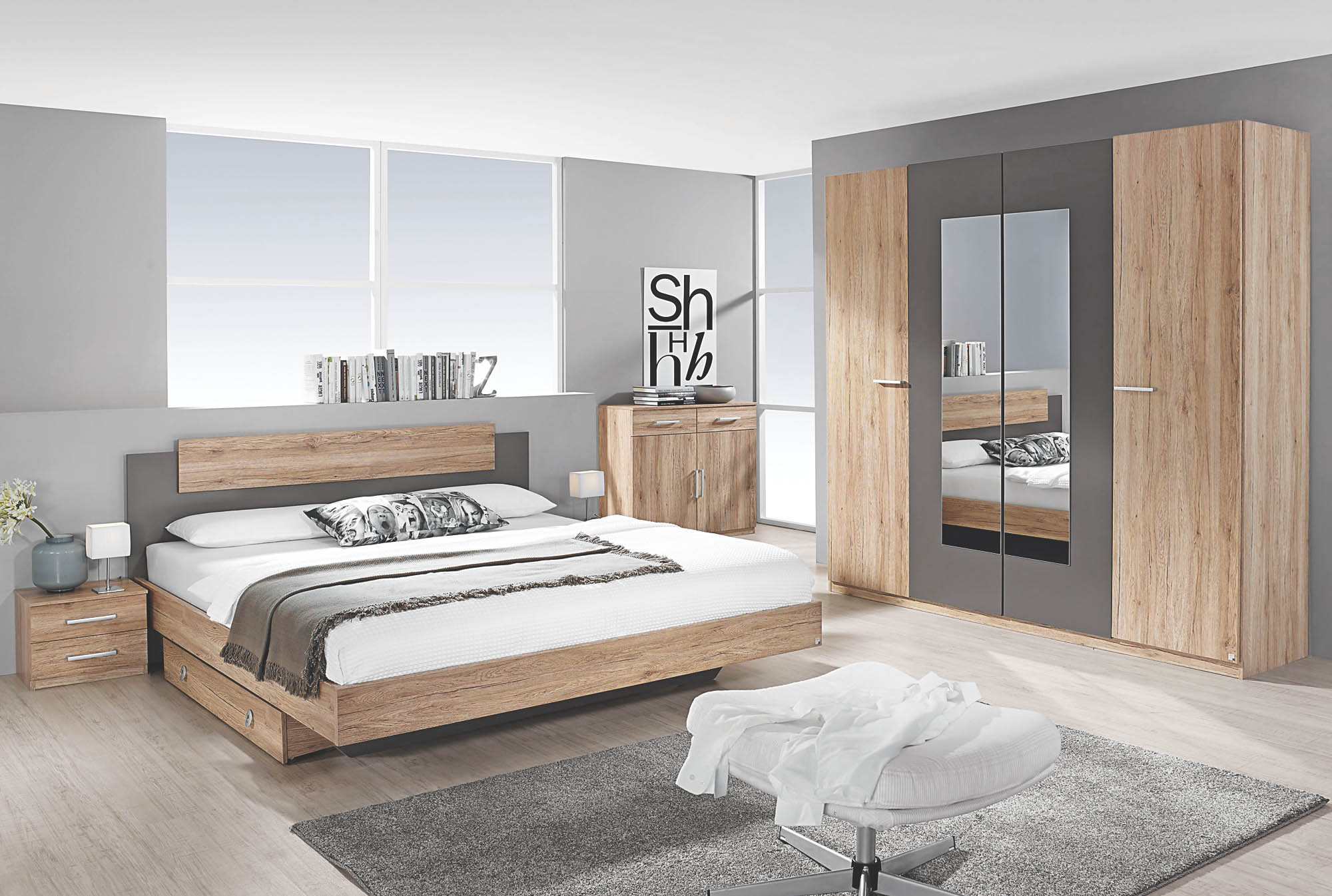 Schlafzimmer 4-tlg Borba von Rauch Packs mit 180x200 Bett Eiche Sonoma /  alpinweiß