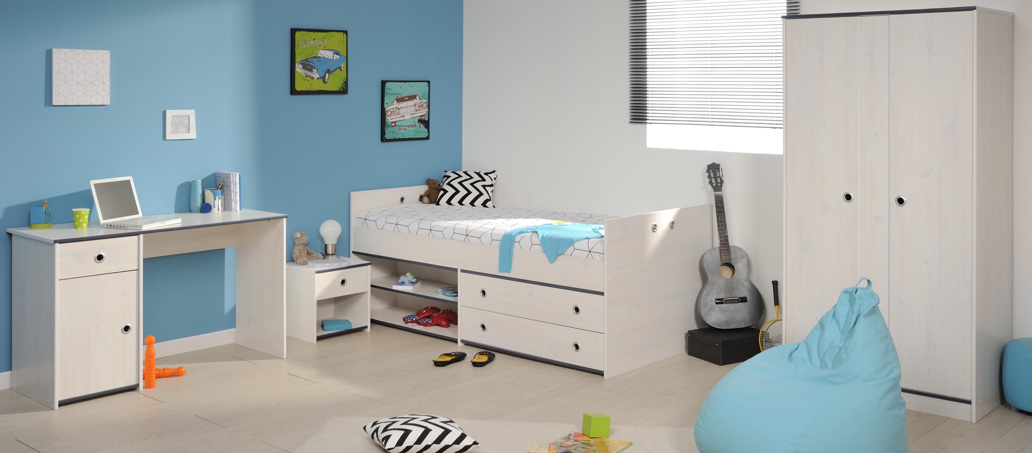 Schlafzimmer 4-tlg. inkl 90x200 Stauraumbett u Schreibtisch Smoozy 26a von  Parisot Kiefer Weiss / Blau