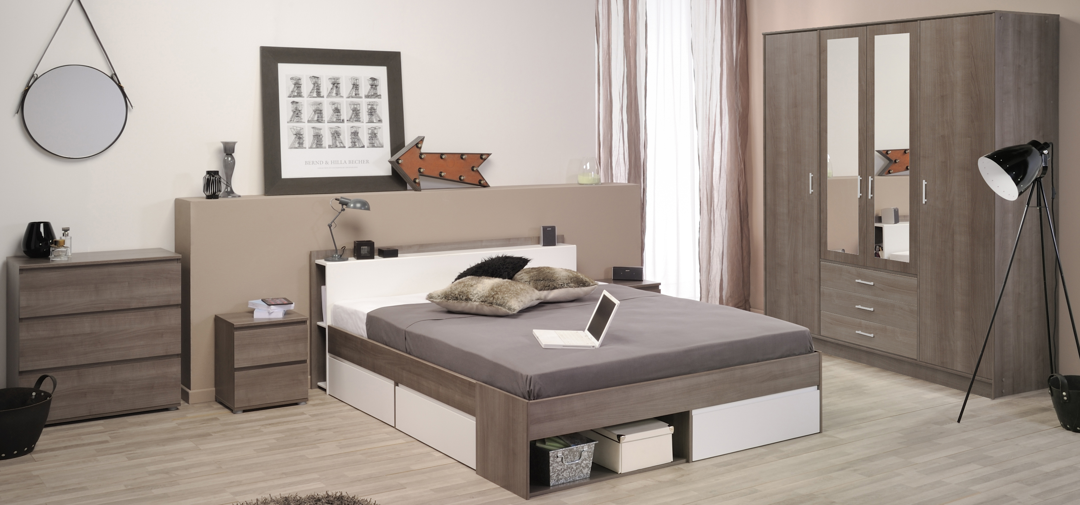 schlafzimmer 5 tlg inkl 140x200 bett u 4 trg kleiderderschrank most 41 von parisot eiche silber. Black Bedroom Furniture Sets. Home Design Ideas
