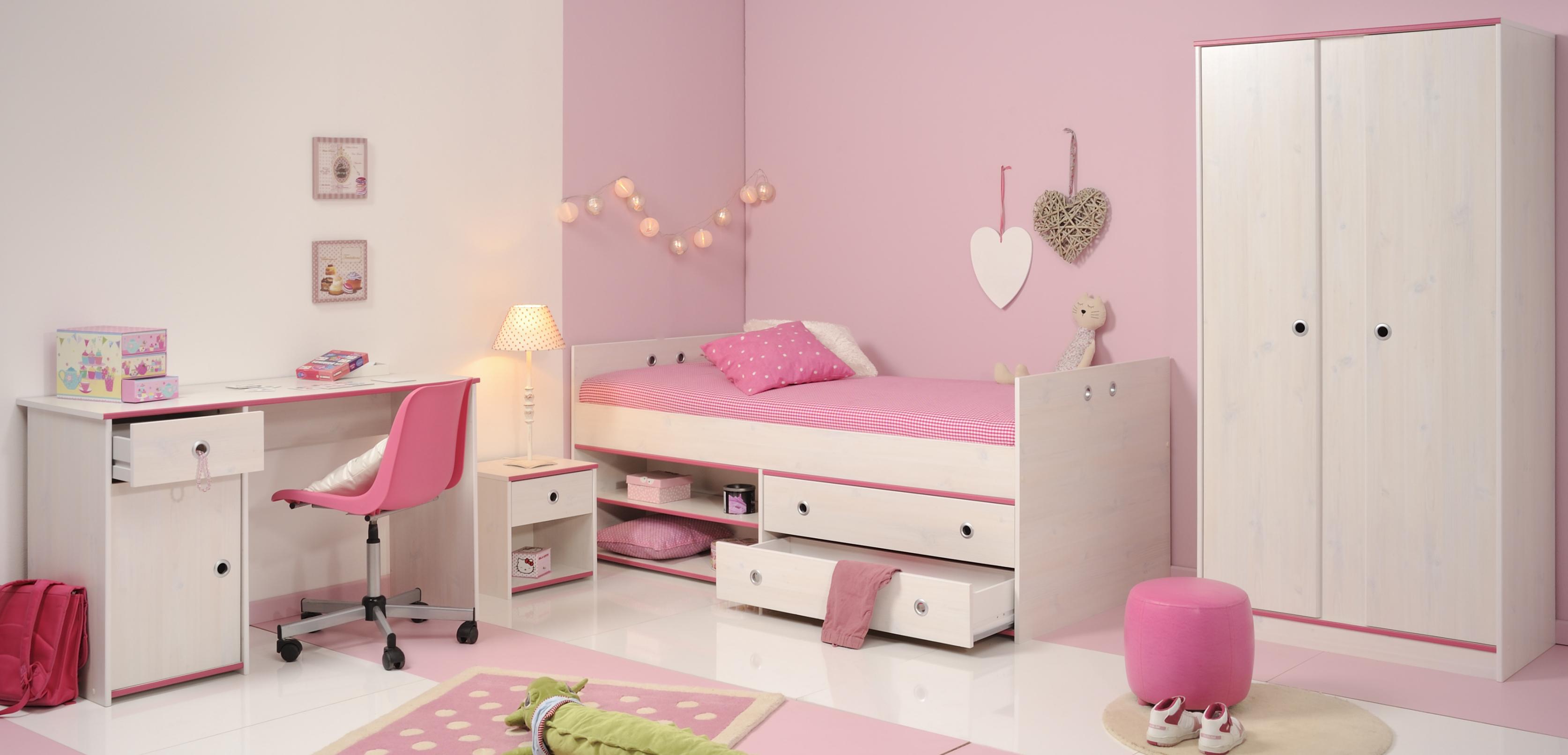 Schlafzimmer 4-tlg. inkl 90x200 Stauraumbett u Schreibtisch Smoozy 26b von Parisot Kiefer Weiss / Pink