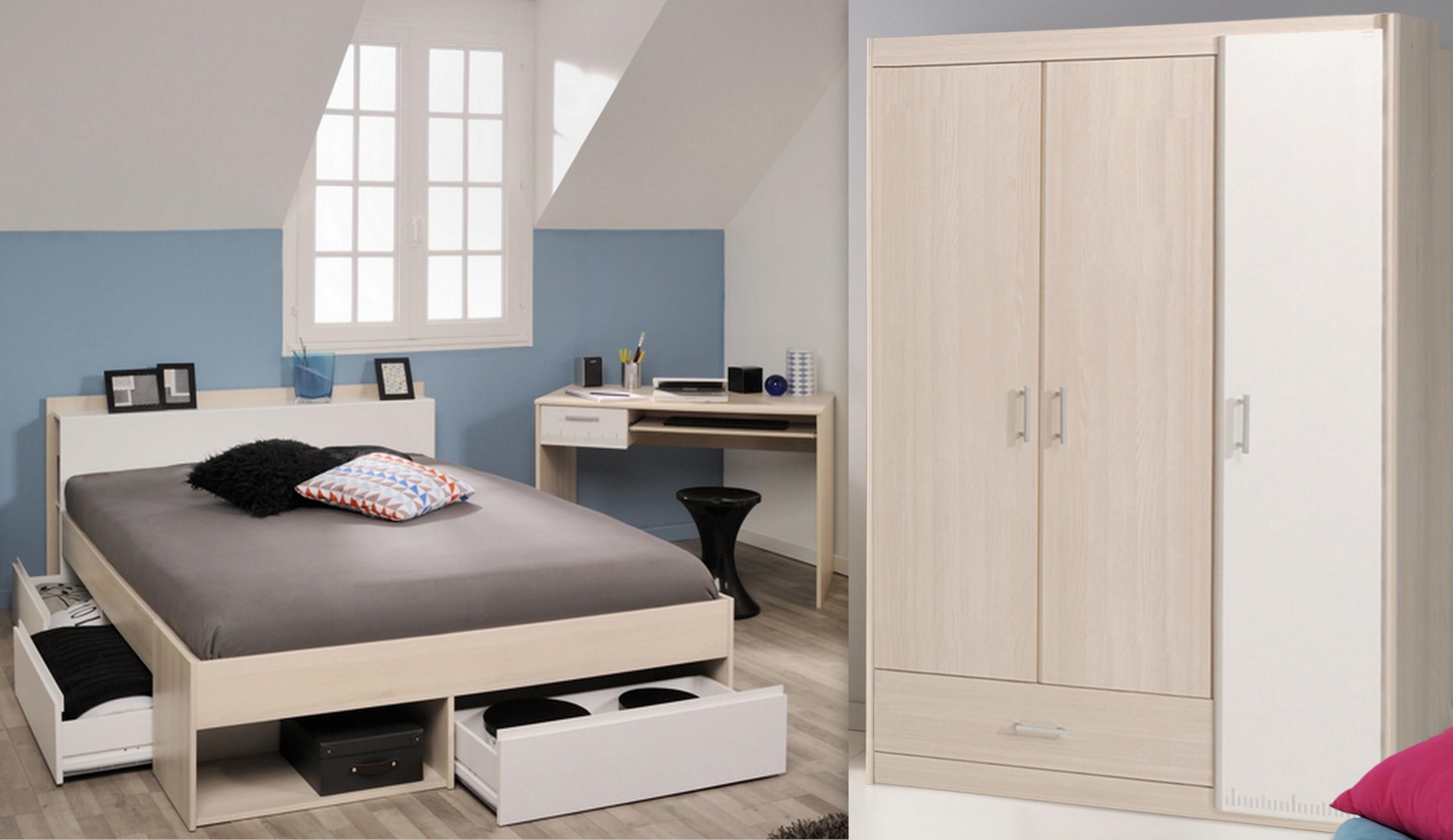 Schlafzimmer-Set 3-tlg inkl 160x200 Etagenbett u Kleiderschrank 3-trg Most  74 von Parisot Akazie / Weiss