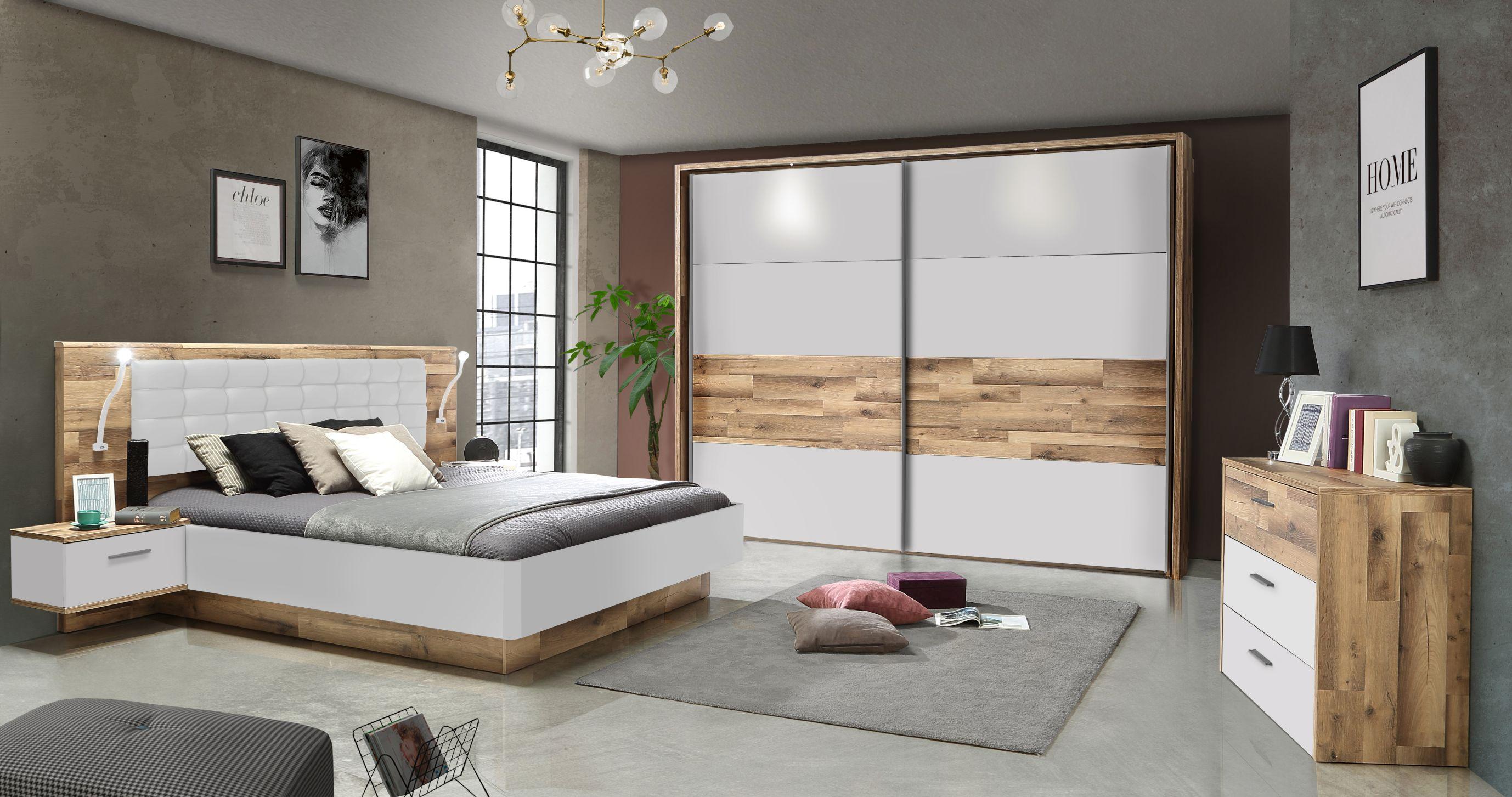 Schlafzimmer Set 11-tlg Modern Way von Forte Stabeiche / Weiss matt
