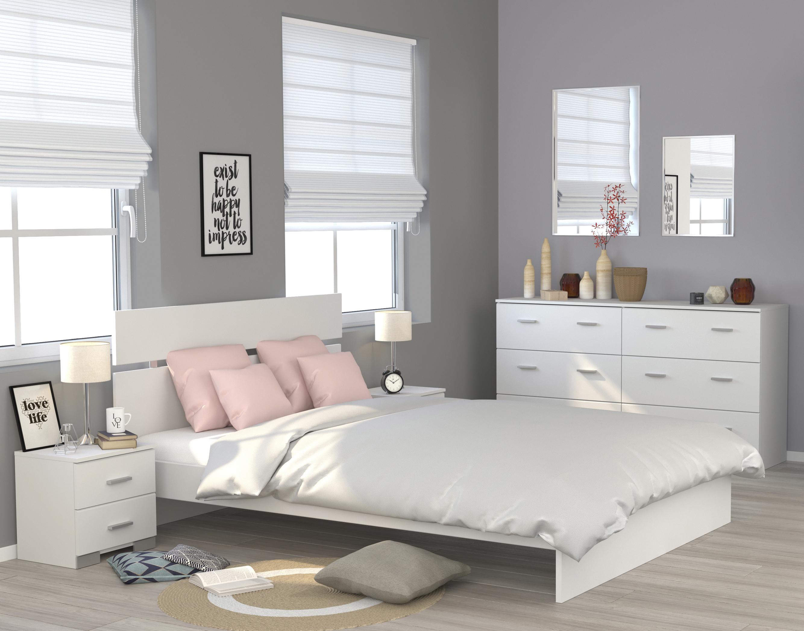 Schlafzimmerset 4-tlg inkl 140x200 Bett Galaxy 123 von Parisot Weiss