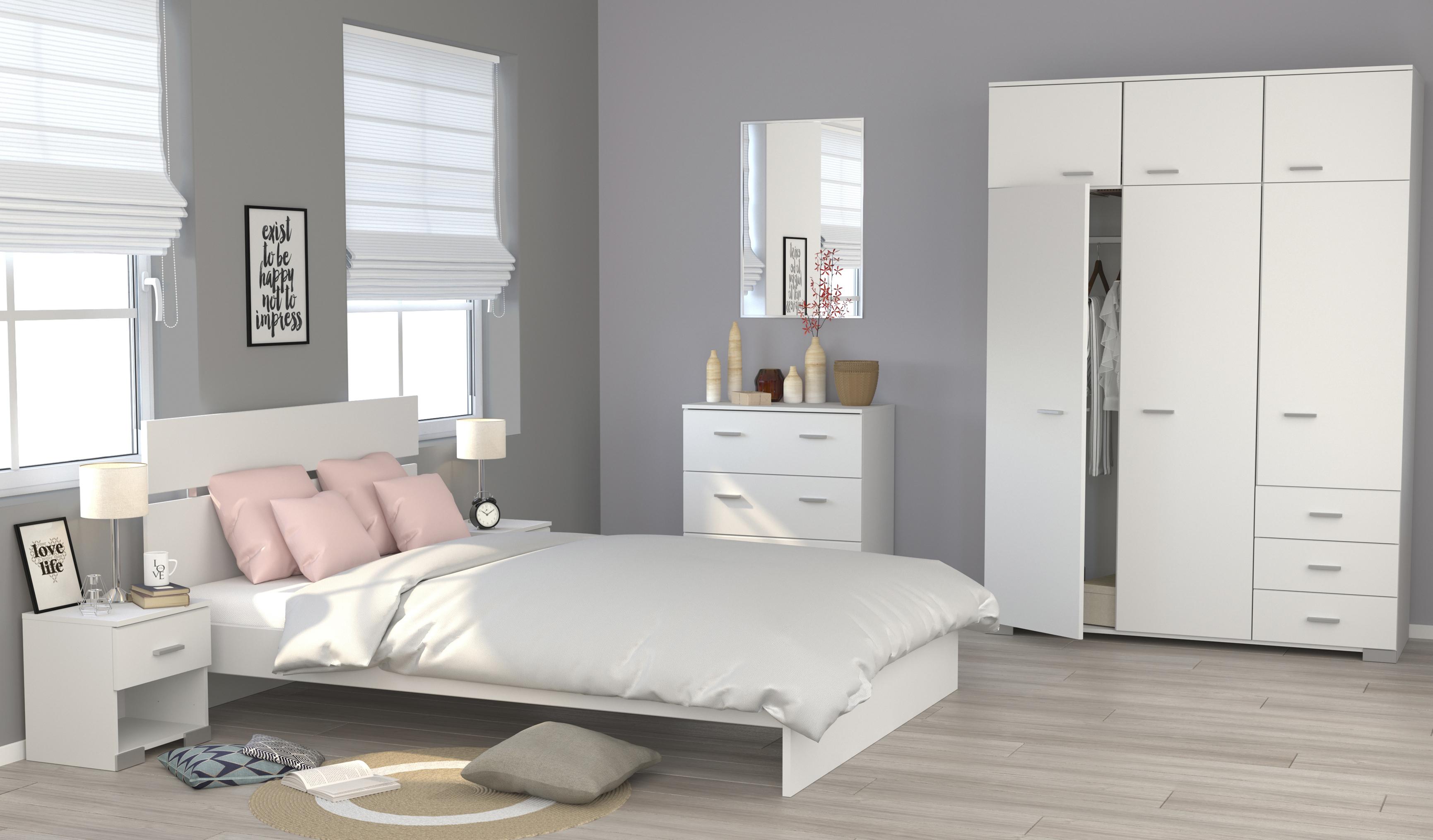 Schlafzimmerset 5-tlg inkl 140x200 Bett u Kleiderschrank Galaxy 121 von  Parisot Weiss