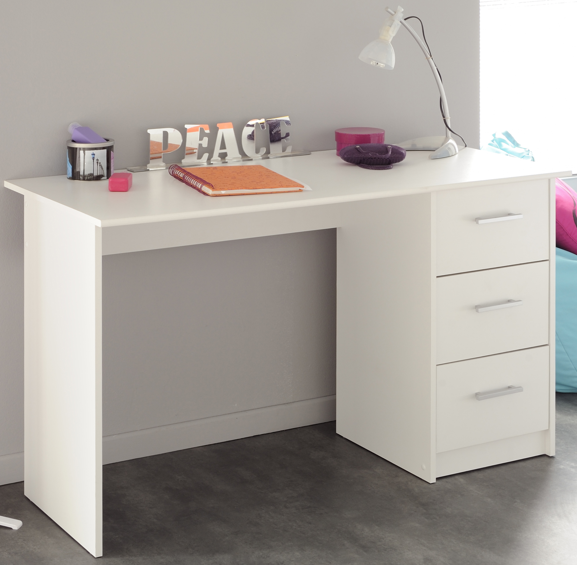Schreibtisch 3 Schubkästen Infinity 101 von Parisot Weiß