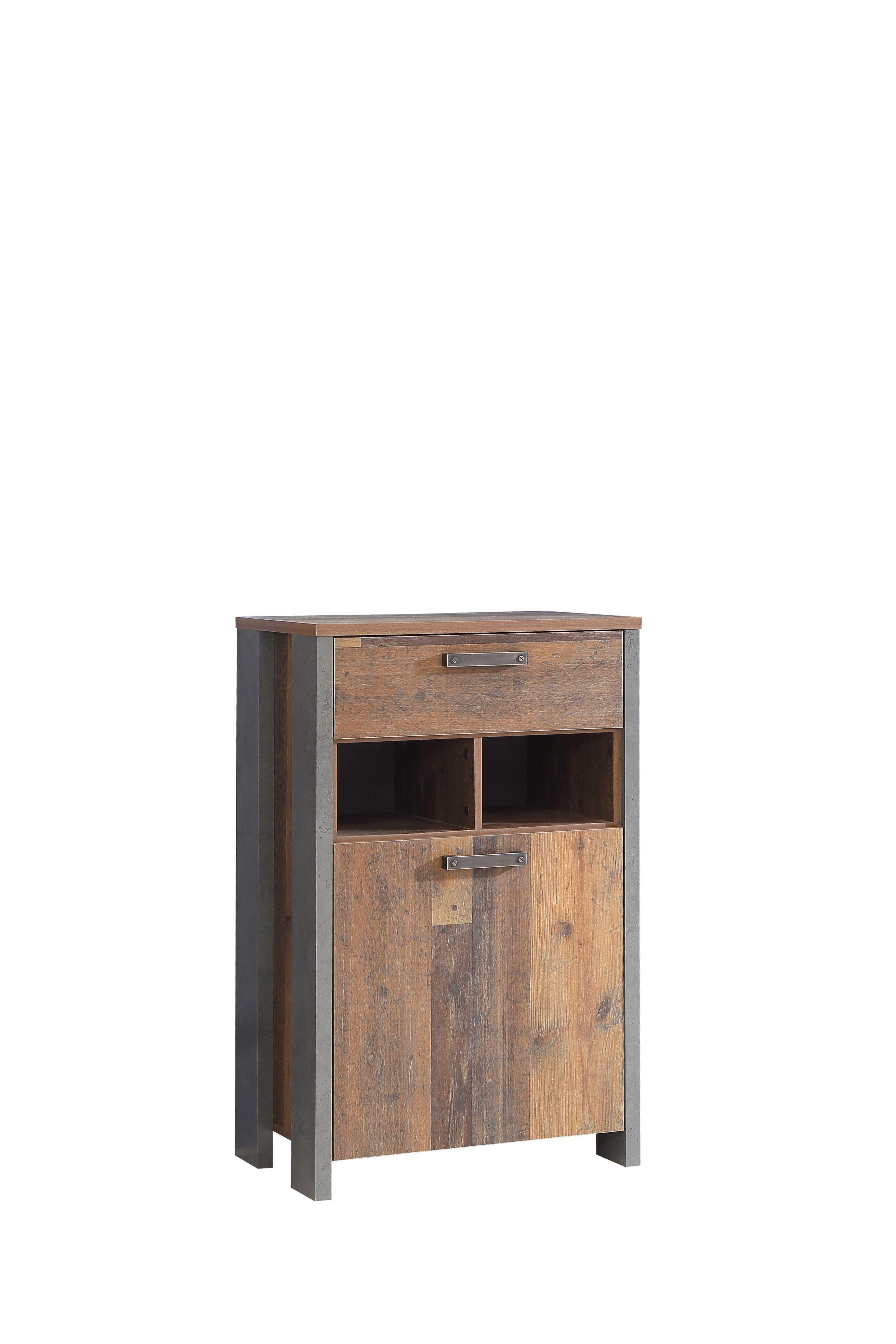 Schuhschrank Clif Von Forte Old Wood Vintage Betonoptik Dunkelgrau