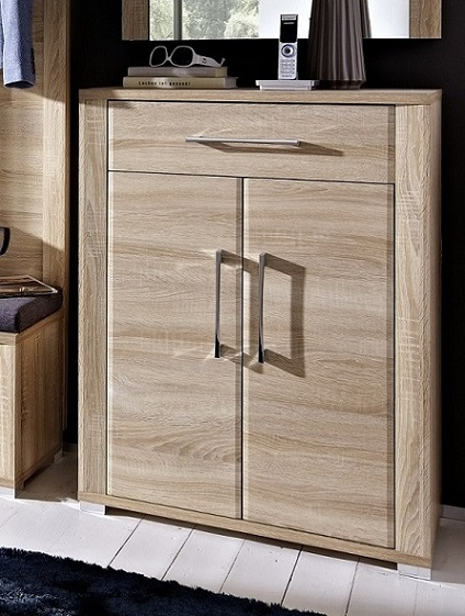 schuhschrank eiche hell dekor mit 2 t ren und 1 schubkasten. Black Bedroom Furniture Sets. Home Design Ideas