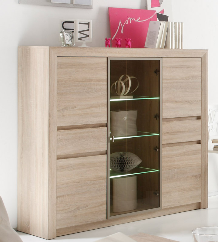 highboard sevilla von trendteam eiche s gerau hell. Black Bedroom Furniture Sets. Home Design Ideas