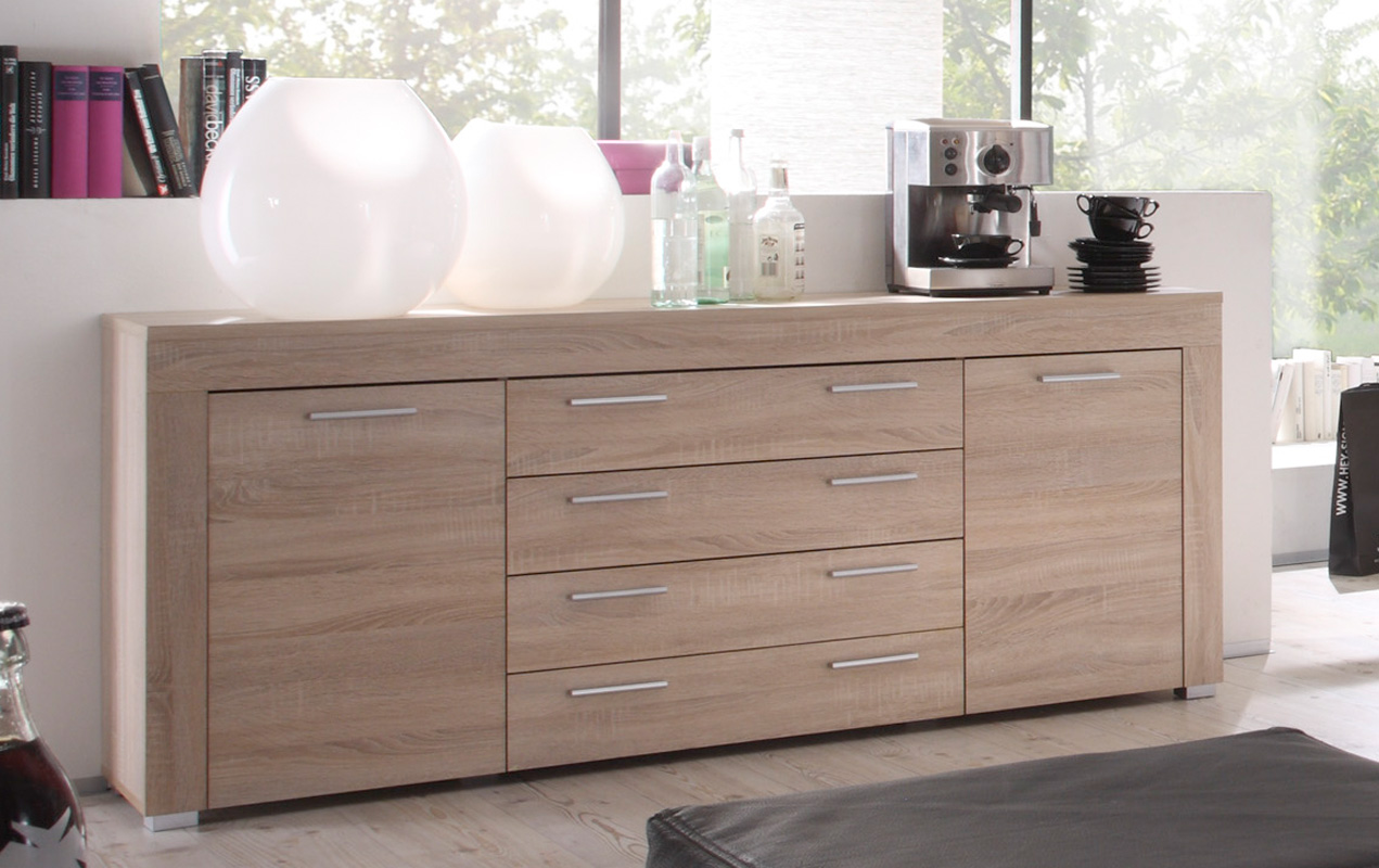 sideboard boom von trendteam eiche s gerau hell. Black Bedroom Furniture Sets. Home Design Ideas