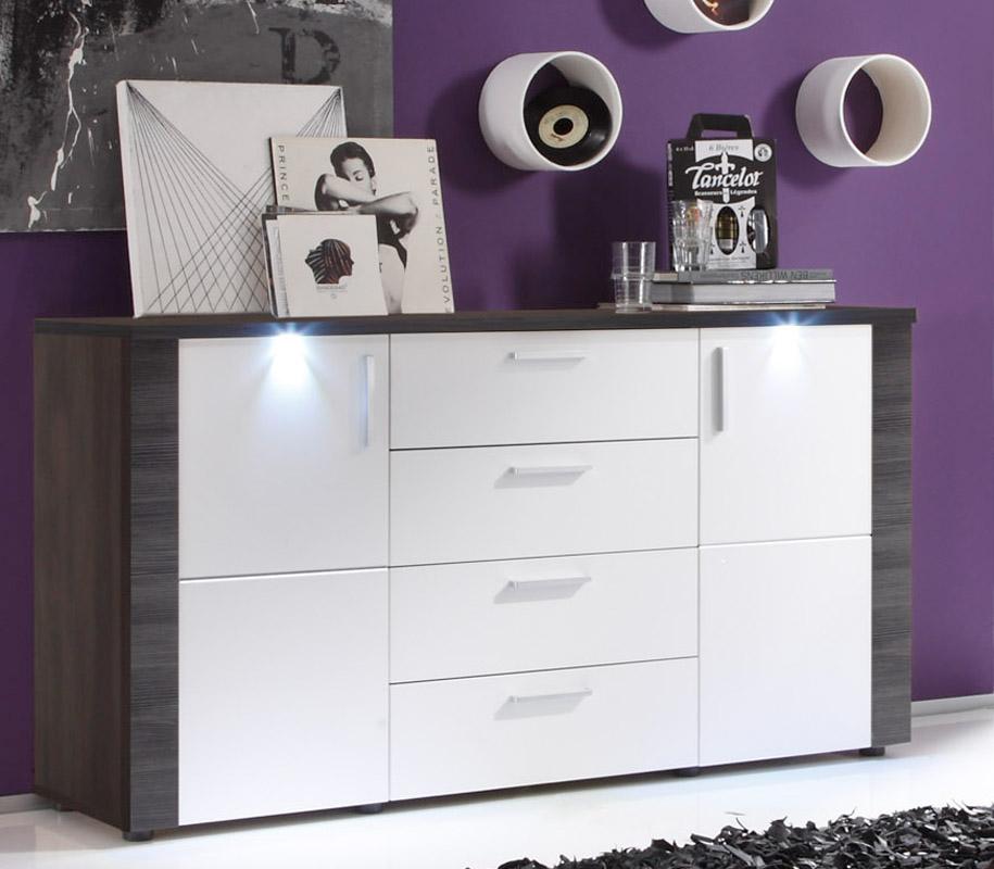 sideboard xpress von trendteam esche grau wei. Black Bedroom Furniture Sets. Home Design Ideas