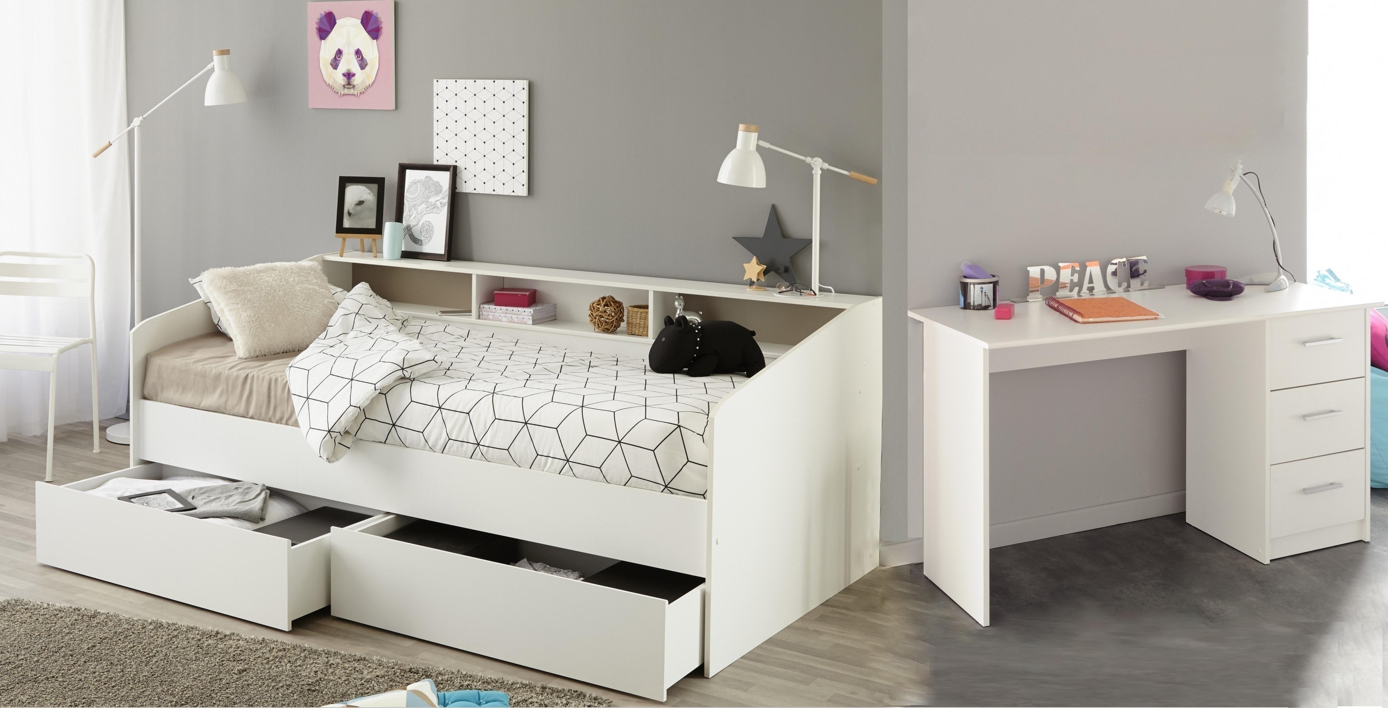 kinderzimmer set 2 tlg inkl 90x200 stauraumbett u schreibtisch sleep 16 von parisot weiss. Black Bedroom Furniture Sets. Home Design Ideas