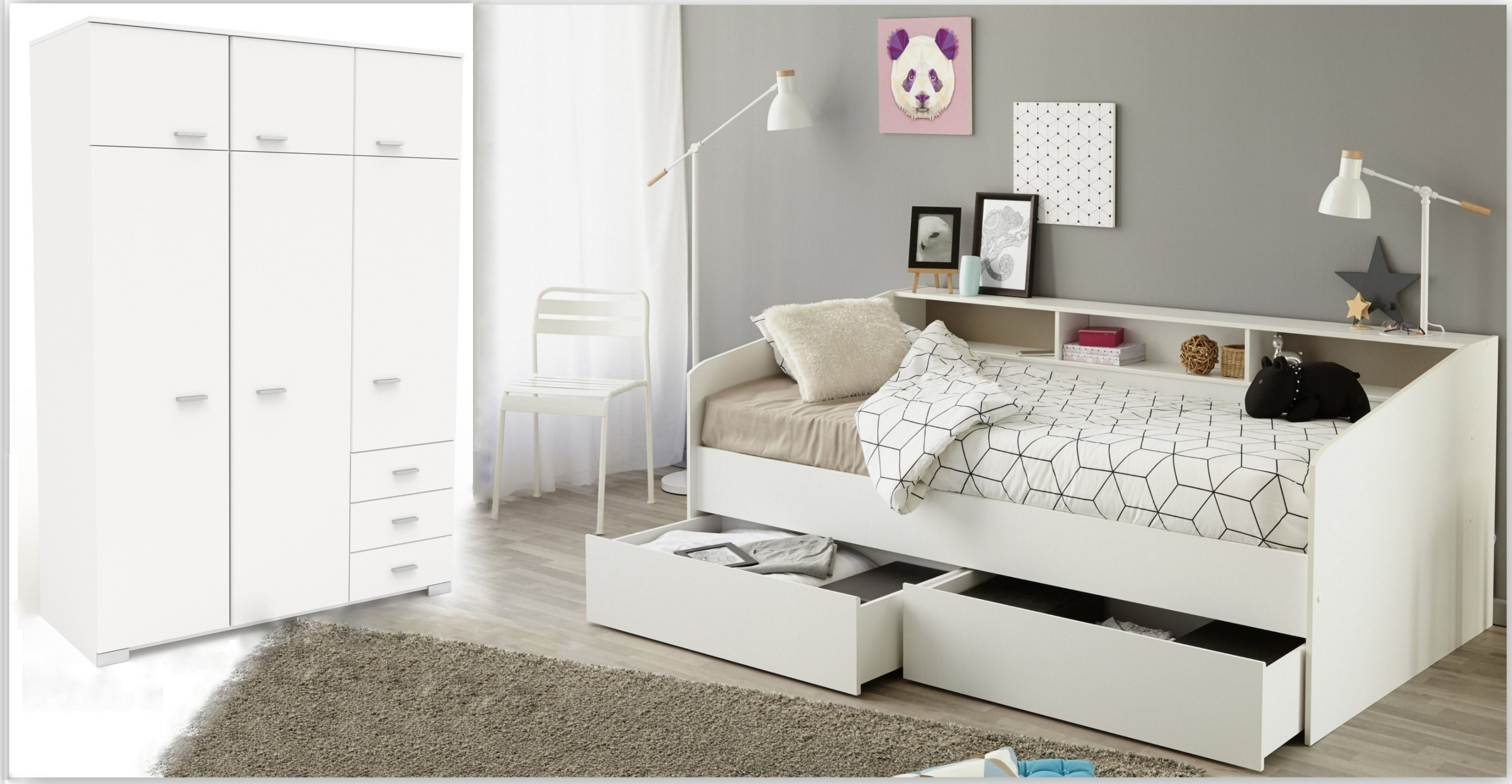 Kinderzimmer-Set 2-tlg inkl 90x200 Stauraumbett u Kleiderschrank 6-trg Sleep 23 von Parisot Weiss