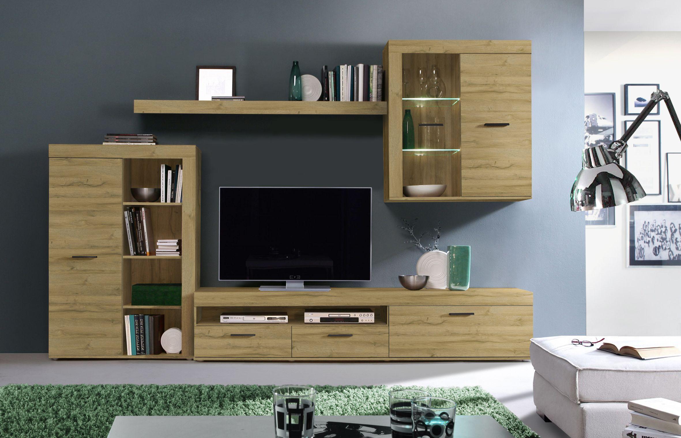 wohnwand inkl led beleuchtung sofia von forte alteiche. Black Bedroom Furniture Sets. Home Design Ideas
