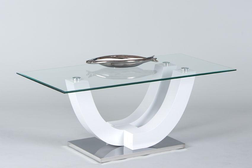 Couchtisch SWING von Stolkom Weiss Hochglanz / Glas