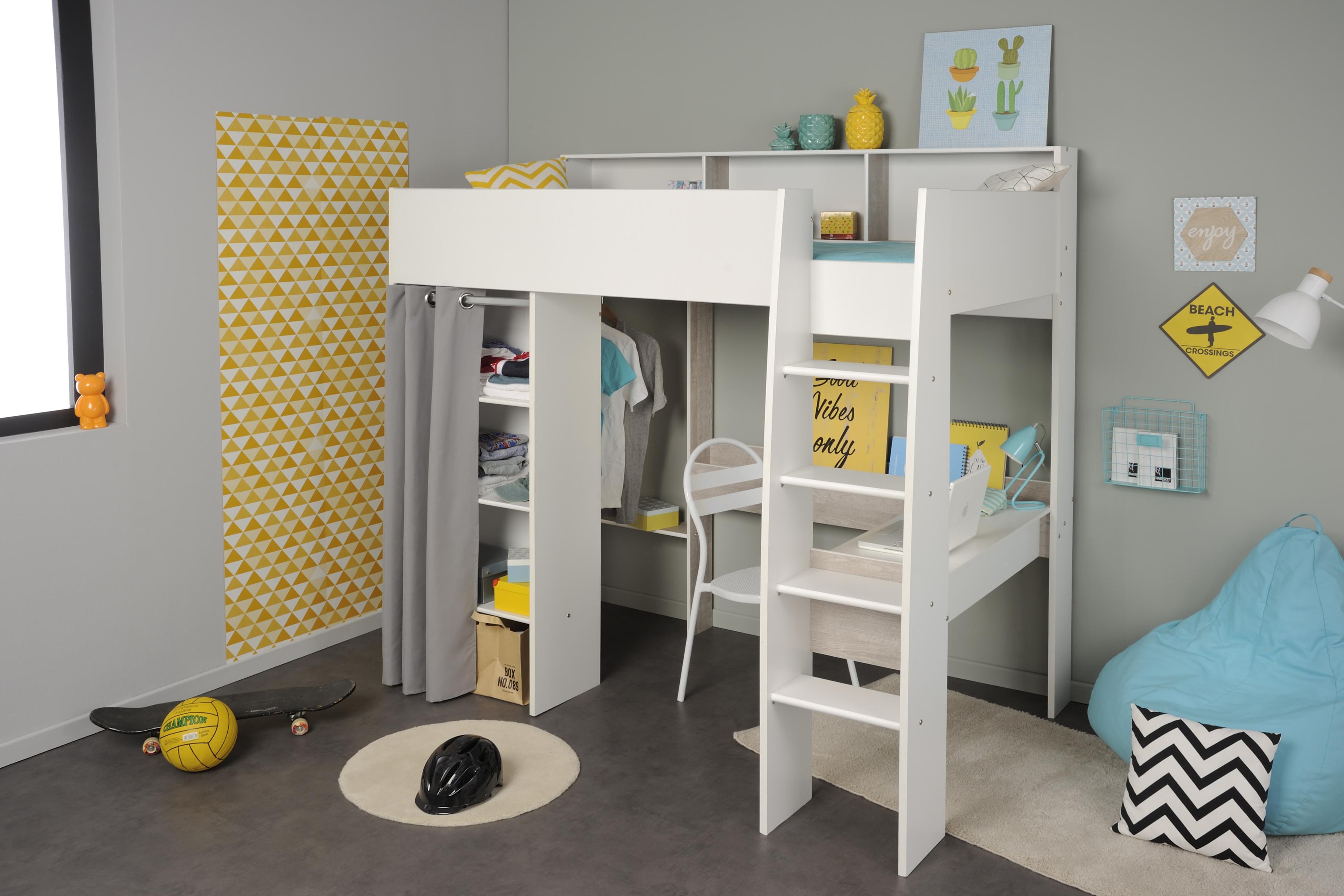 90x200 hochbett inkl kleiderstange u schreibtisch taylor 11 von parisot weiss grey loft. Black Bedroom Furniture Sets. Home Design Ideas