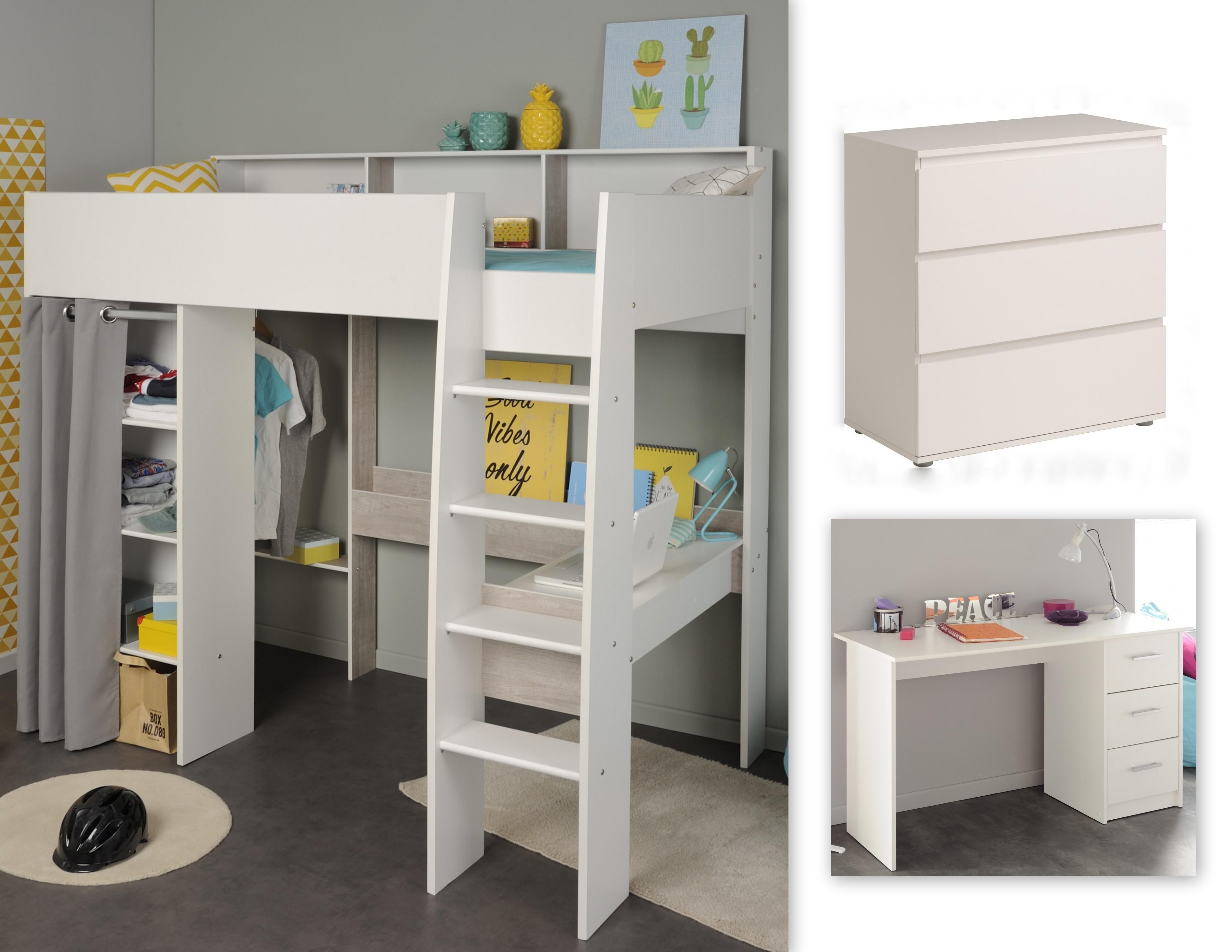 kinderzimmer set 3 tlg inkl 90x200 hochbett kommode u schreibtisch taylor 15 von parisot weiss. Black Bedroom Furniture Sets. Home Design Ideas