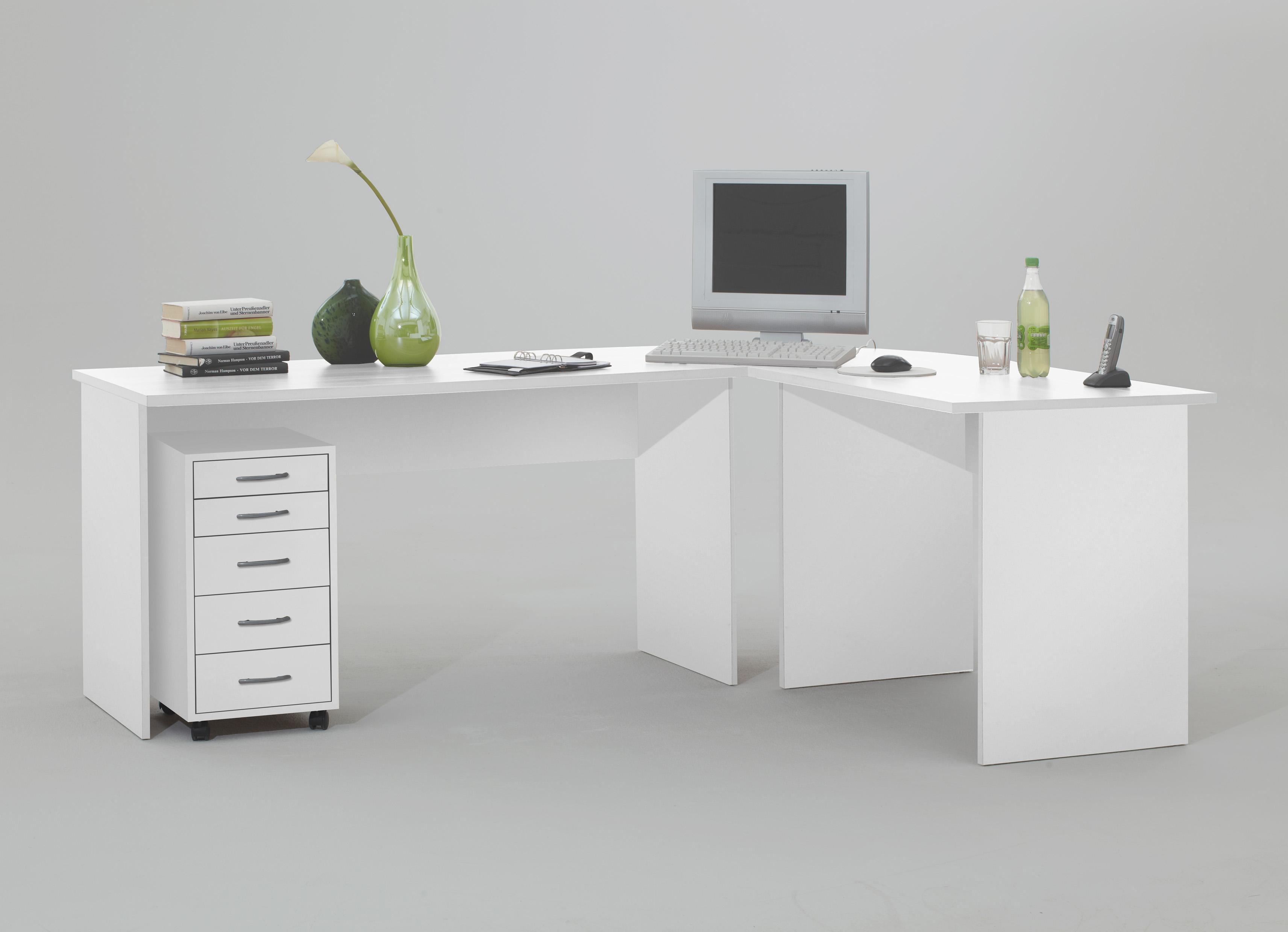 till schreibtisch winkelkombination von fmd weiss. Black Bedroom Furniture Sets. Home Design Ideas