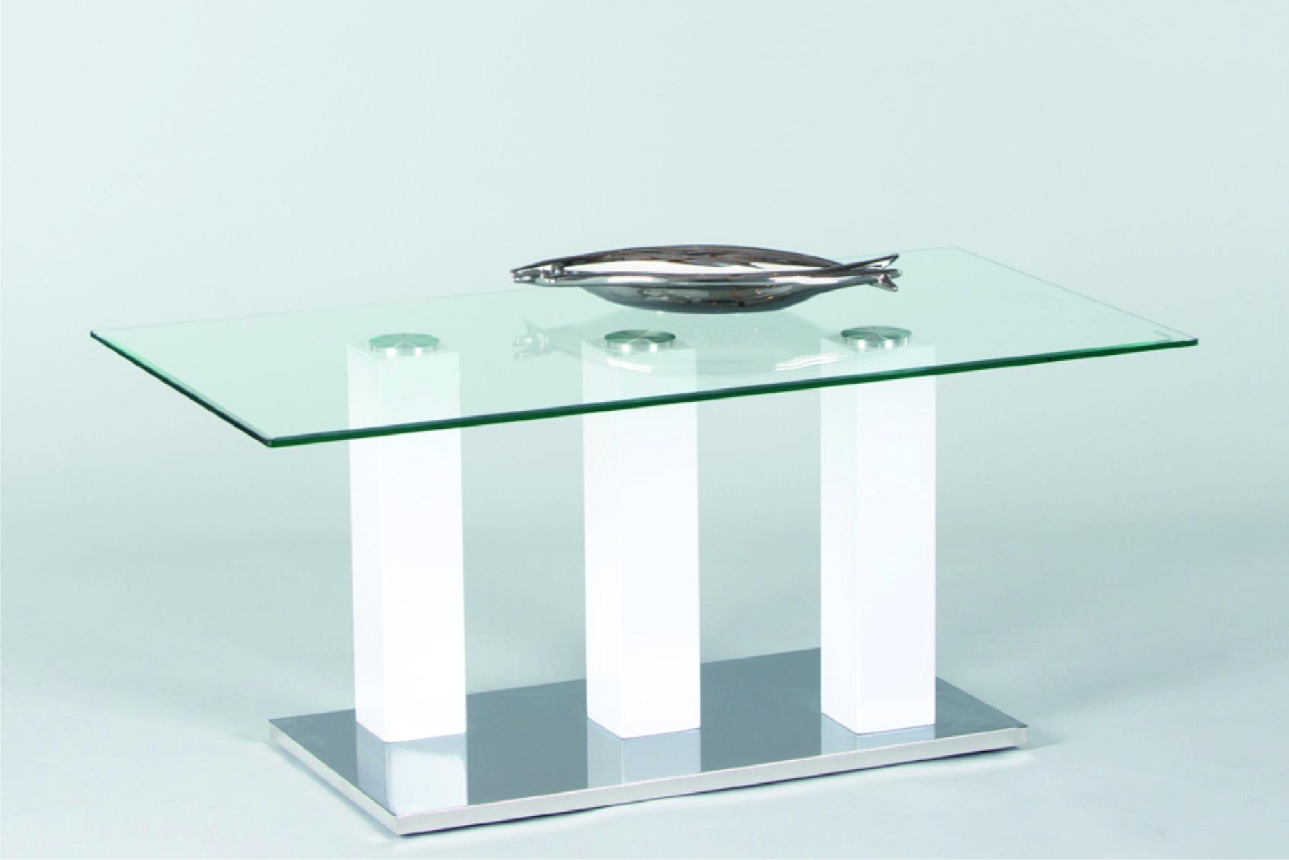 Couchtisch TOWERS von Stolkom Weiss Hochglanz / Glas