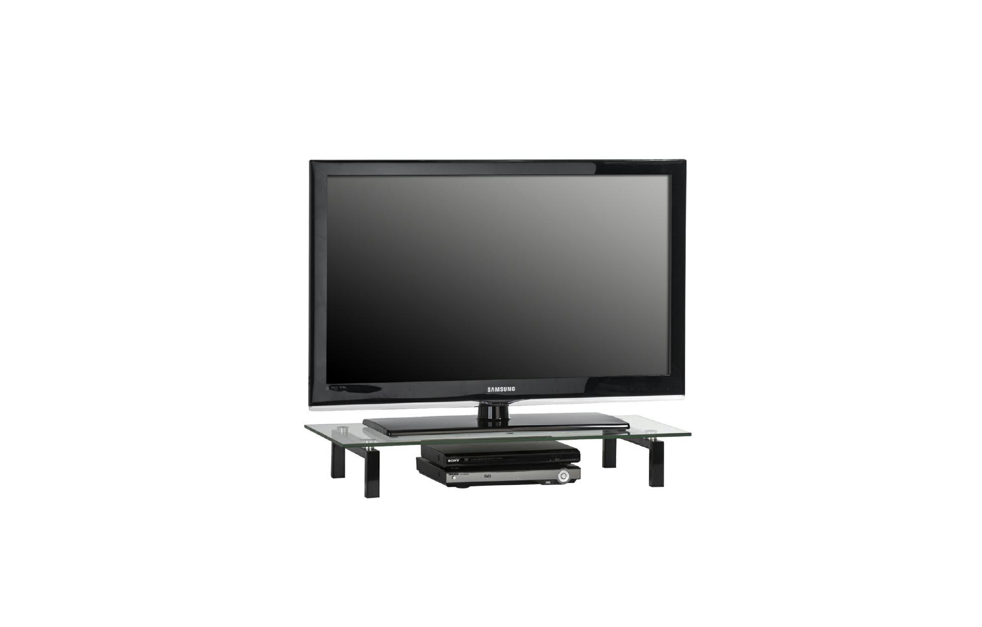 tv glasaufsatz podest ca 80 cm breit media 1603 von maja metall schwarz klarglas. Black Bedroom Furniture Sets. Home Design Ideas
