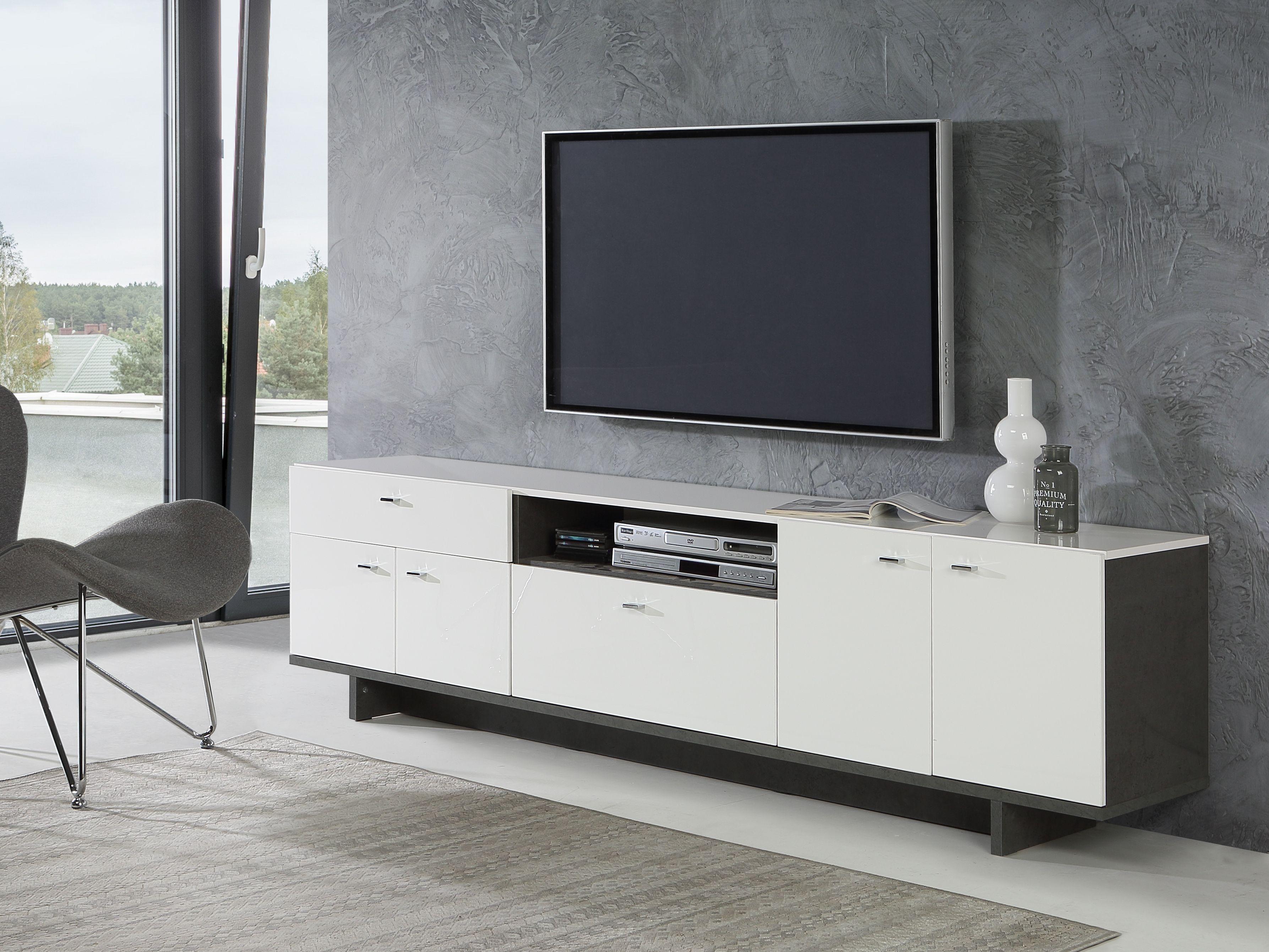 Tv Lowboard Ca 209 Cm Breit Makaria Von Forte Beton Weiss