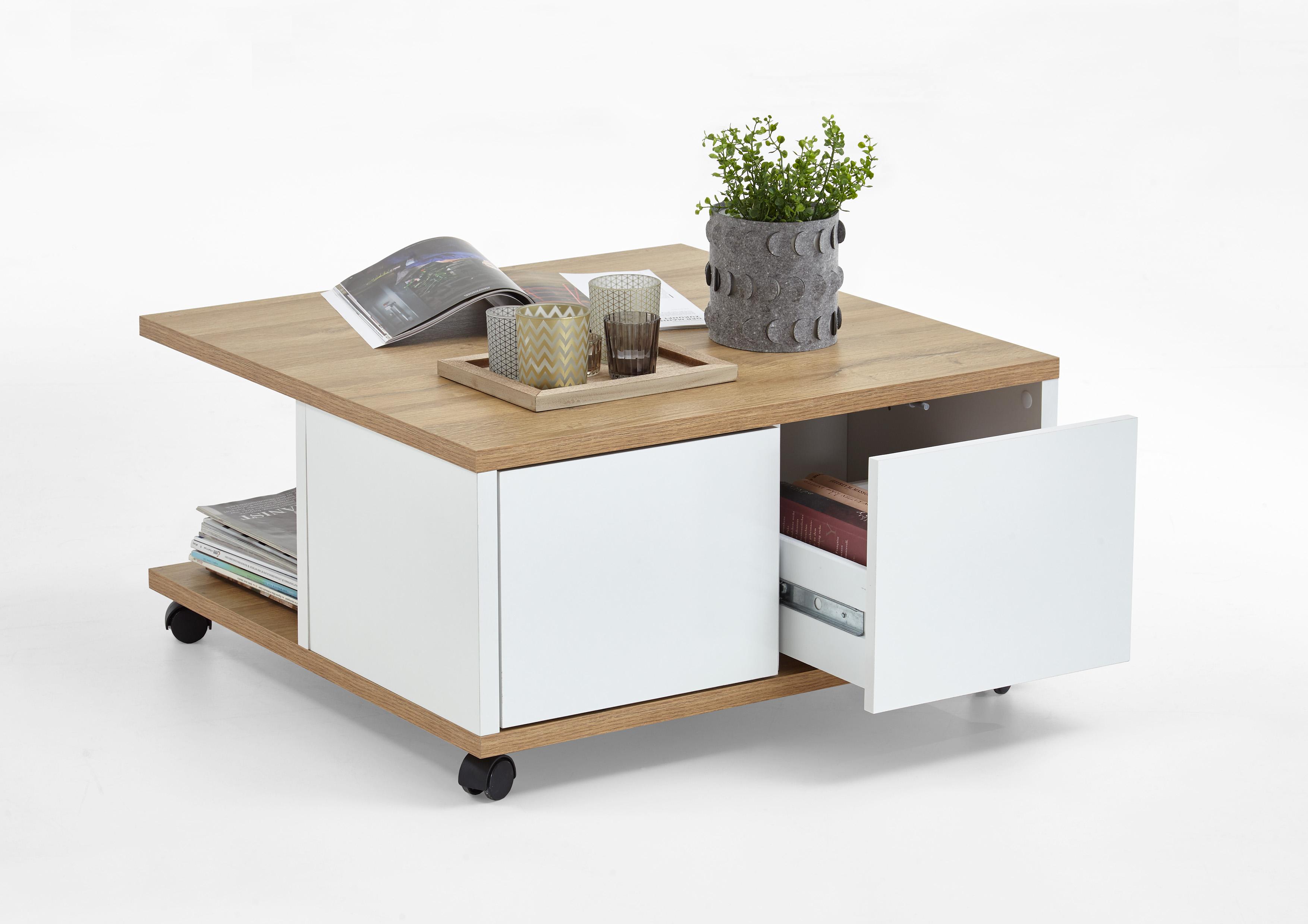 twin 1 couchtisch auf rollen von fmd alteiche weiss edelglanz. Black Bedroom Furniture Sets. Home Design Ideas