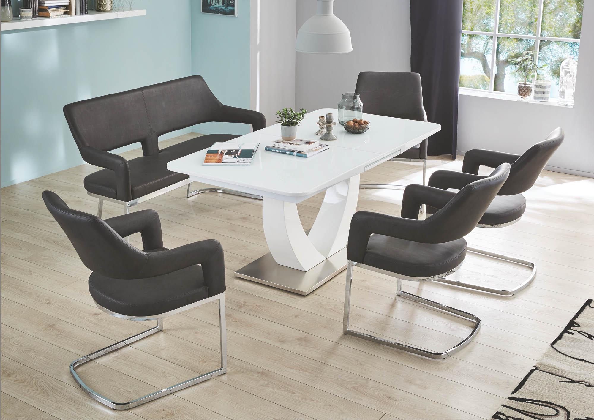 esstisch ausziehbar ulm von pro com hochglanz weiss edelstahl. Black Bedroom Furniture Sets. Home Design Ideas