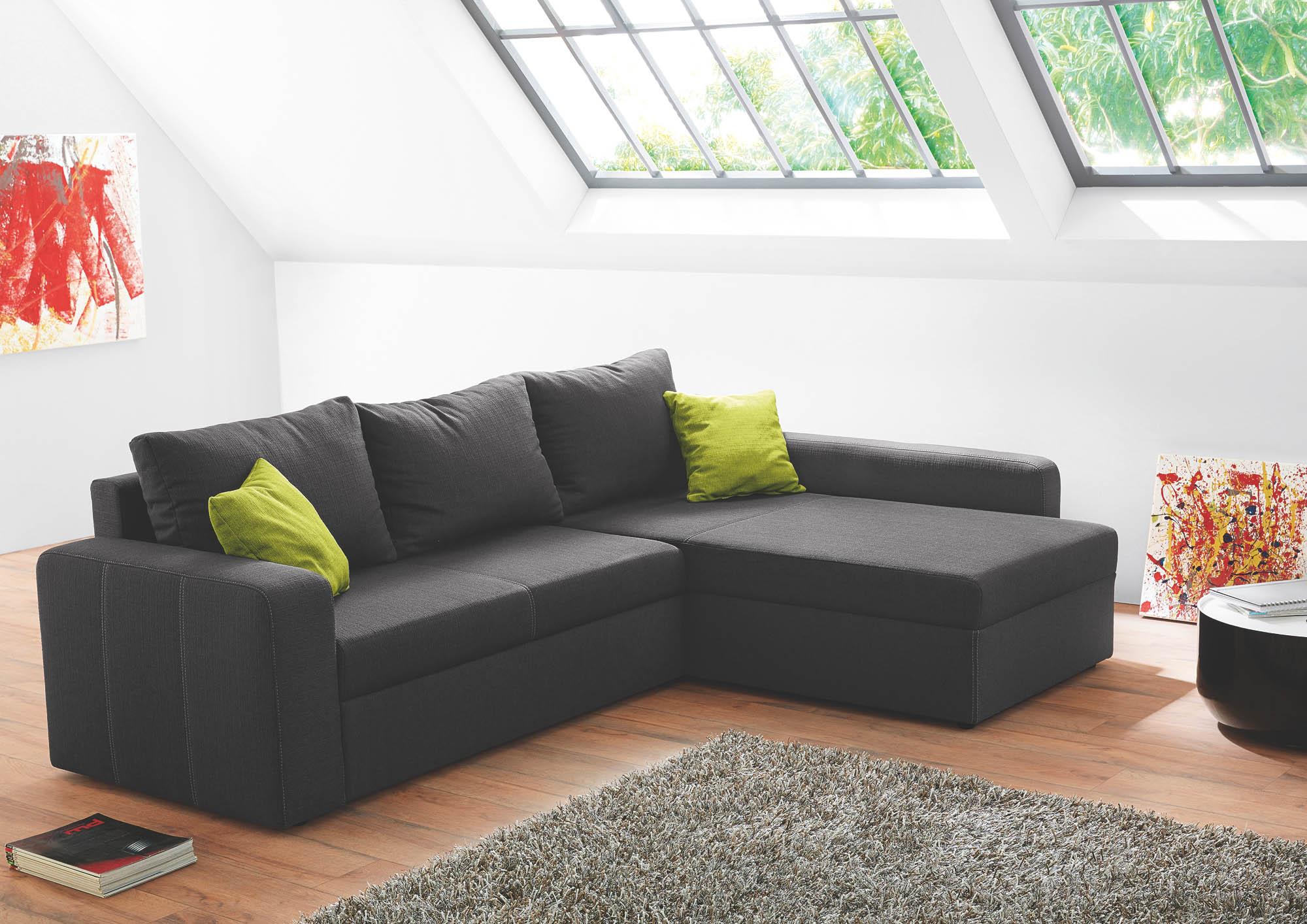 wohnlandschaft mit g stebettfkt und integriertem. Black Bedroom Furniture Sets. Home Design Ideas